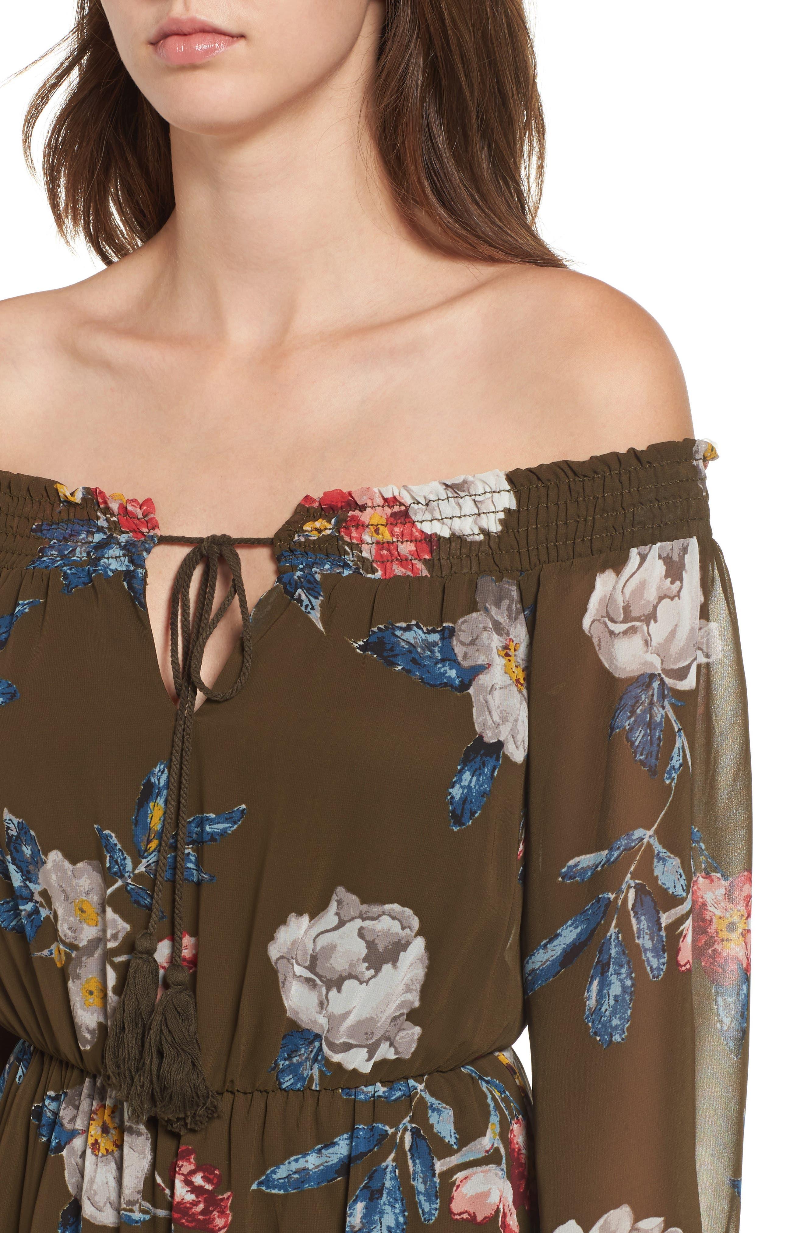 Floral Off the Shoulder Dress,                             Alternate thumbnail 4, color,                             300