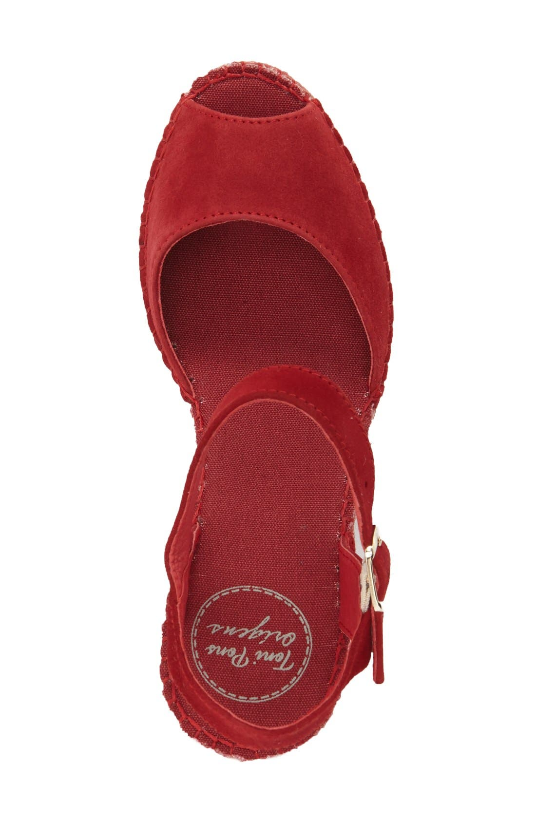 Laura Espadrille Wedge Sandal,                             Alternate thumbnail 3, color,                             RED SUEDE