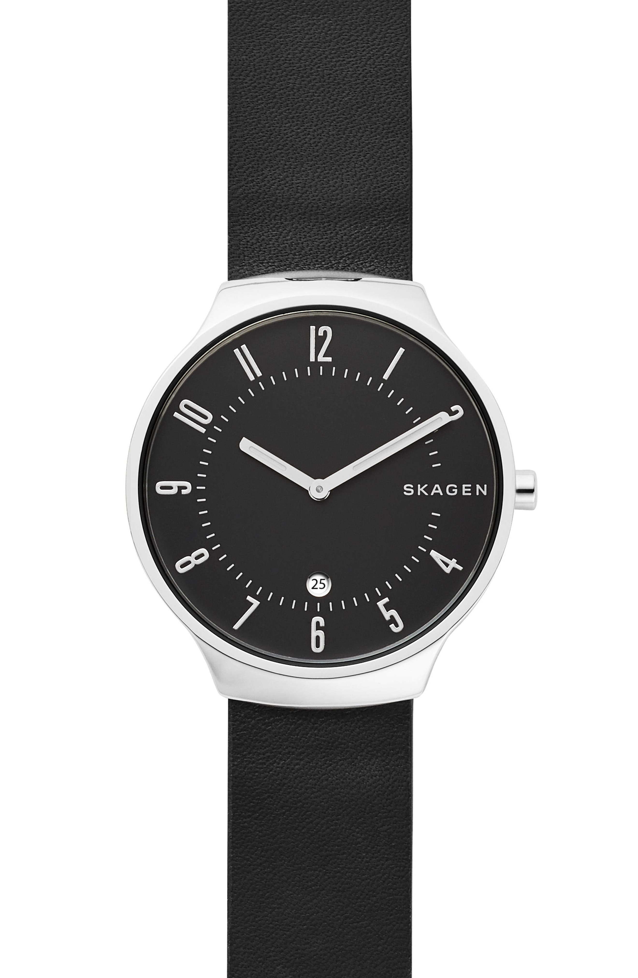 Grenen Leather Strap Watch, 38mm,                         Main,                         color, BLACK/ SILVER