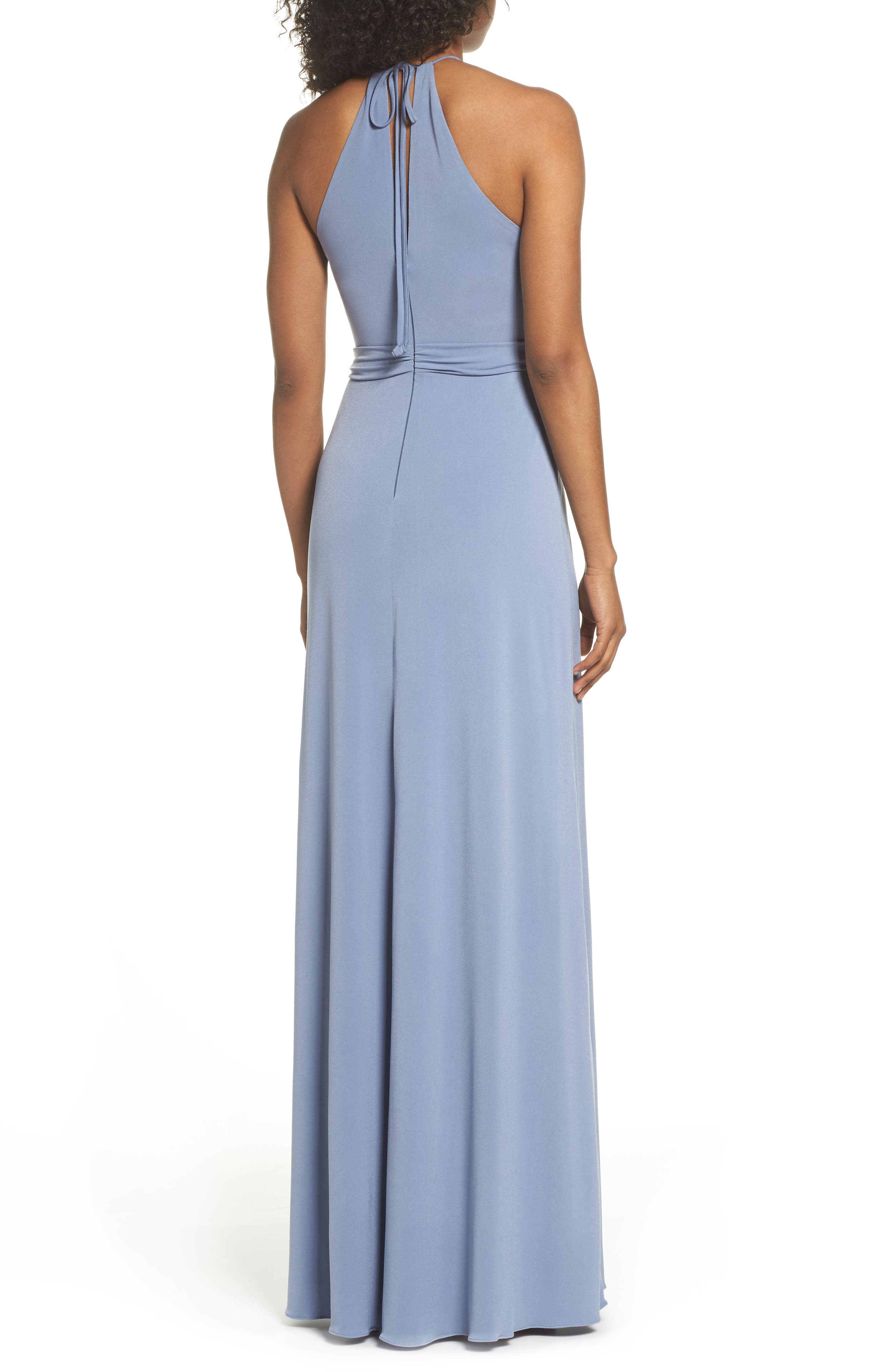 Sena Jersey Keyhole Halter Gown,                             Alternate thumbnail 2, color,                             SLATE