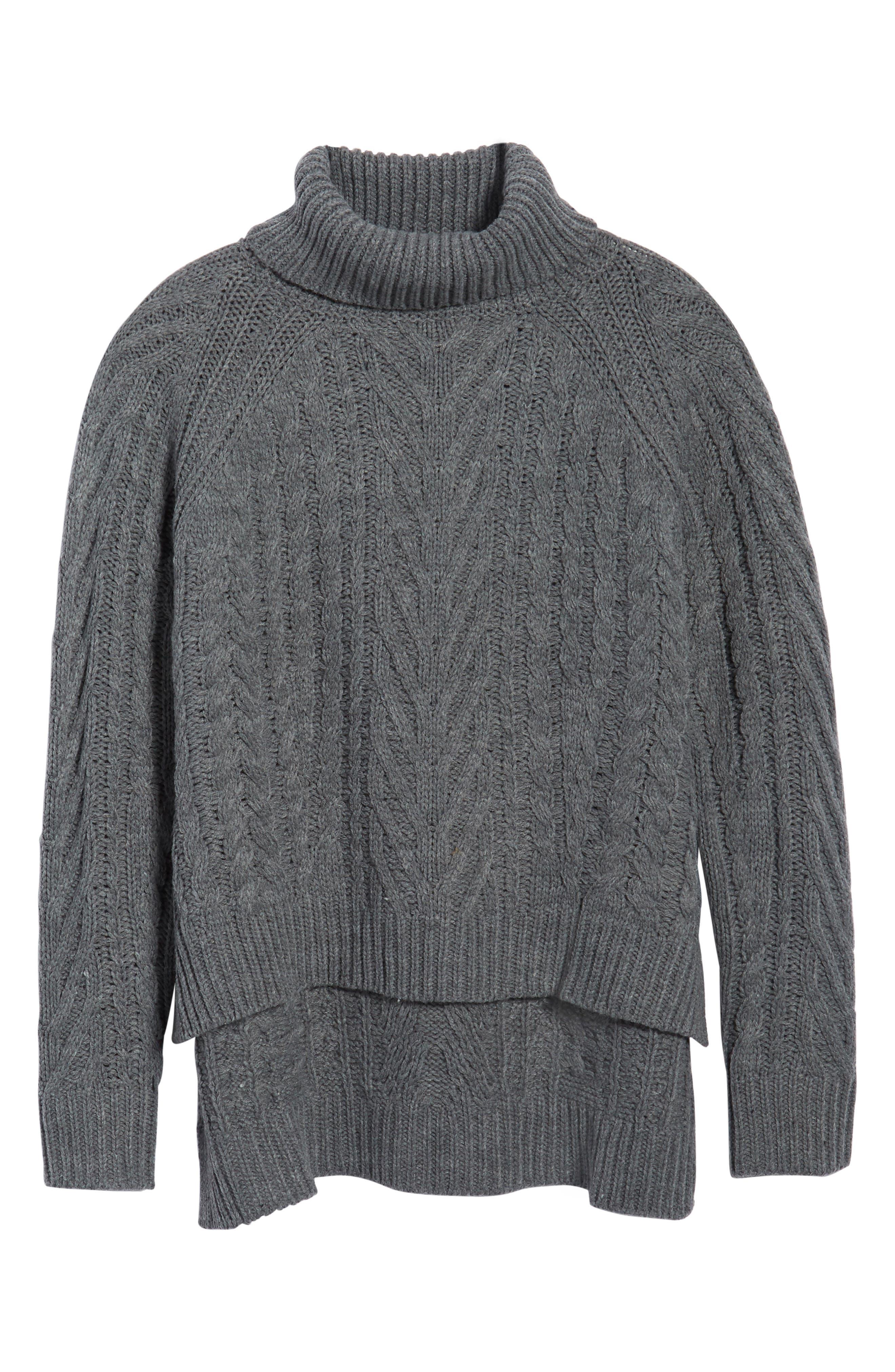 Cable Knit Turtleneck Sweater,                             Alternate thumbnail 6, color,                             020