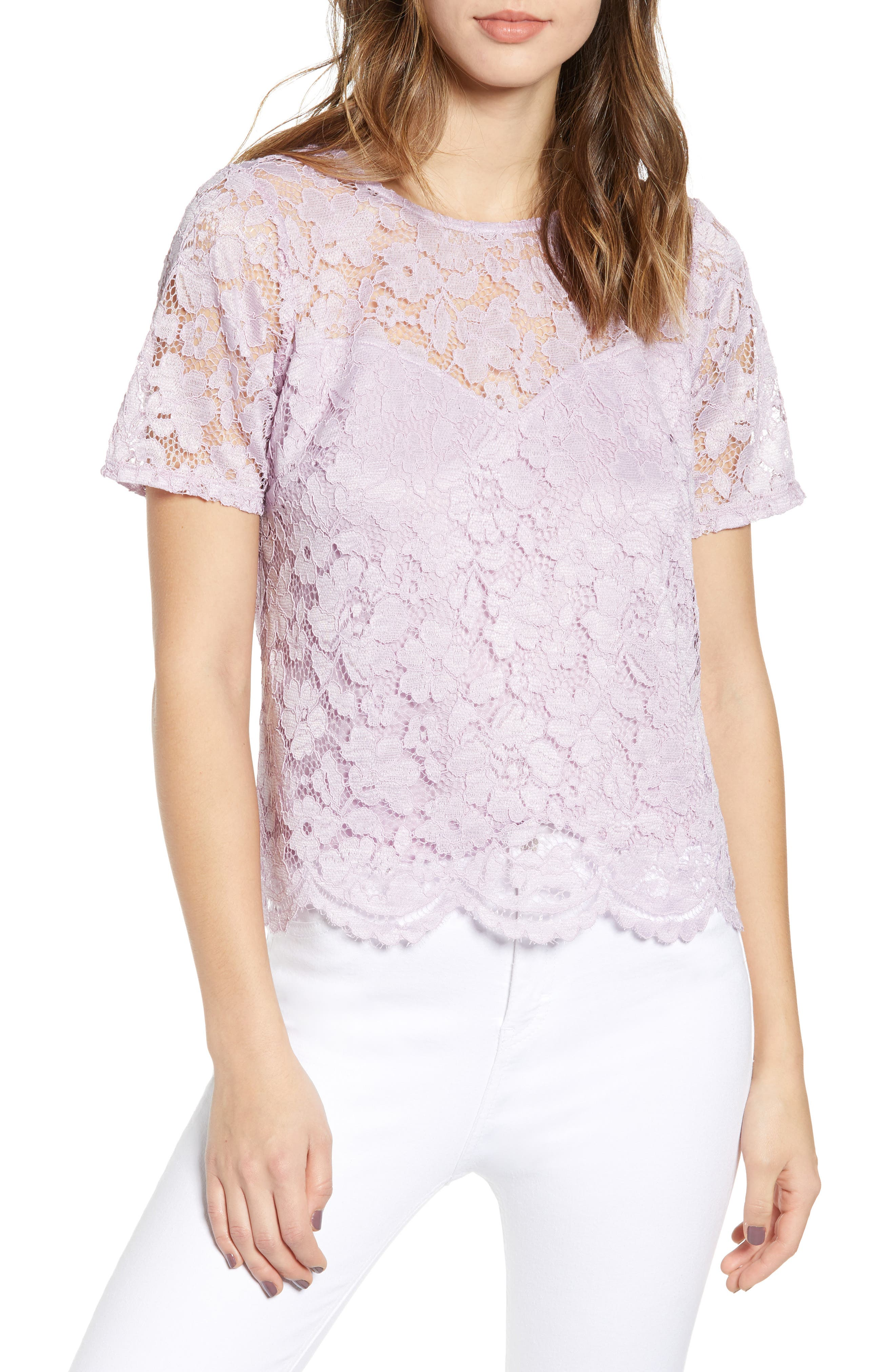 Leith Scalloped Lace Tee, Purple