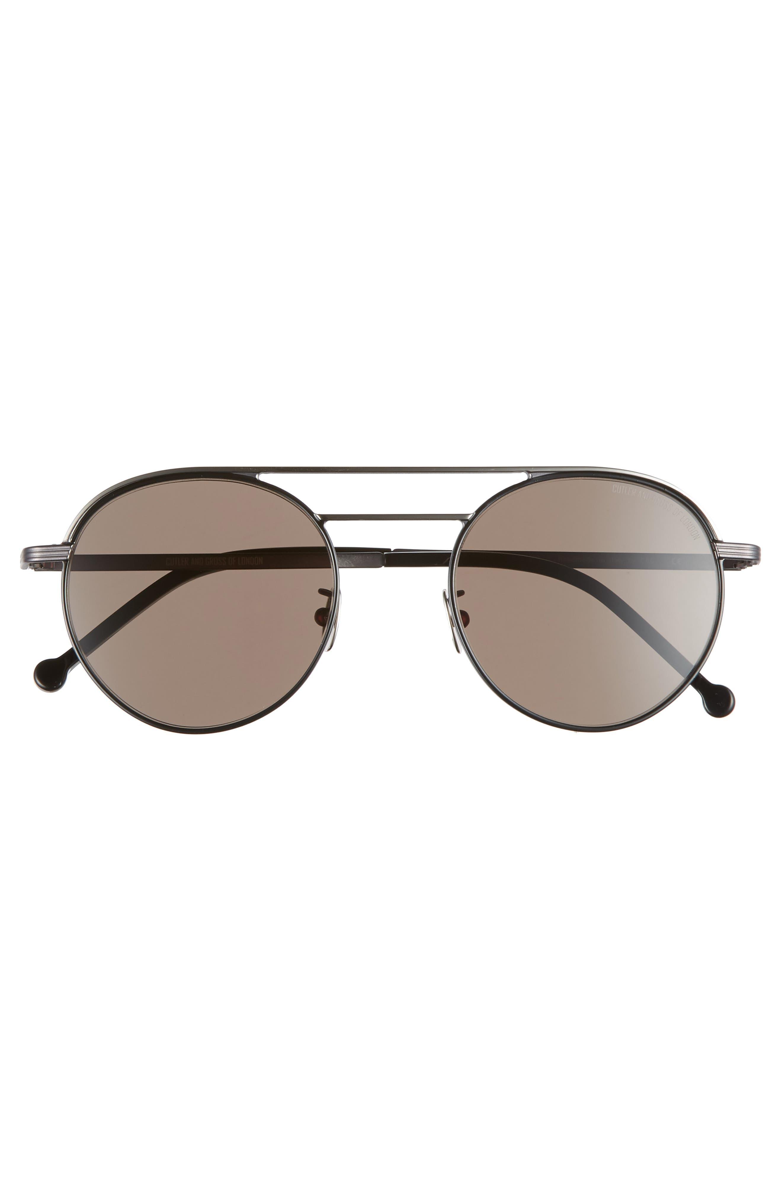 50mm Polarized Round Sunglasses,                             Alternate thumbnail 2, color,                             BLACK/ BLACK