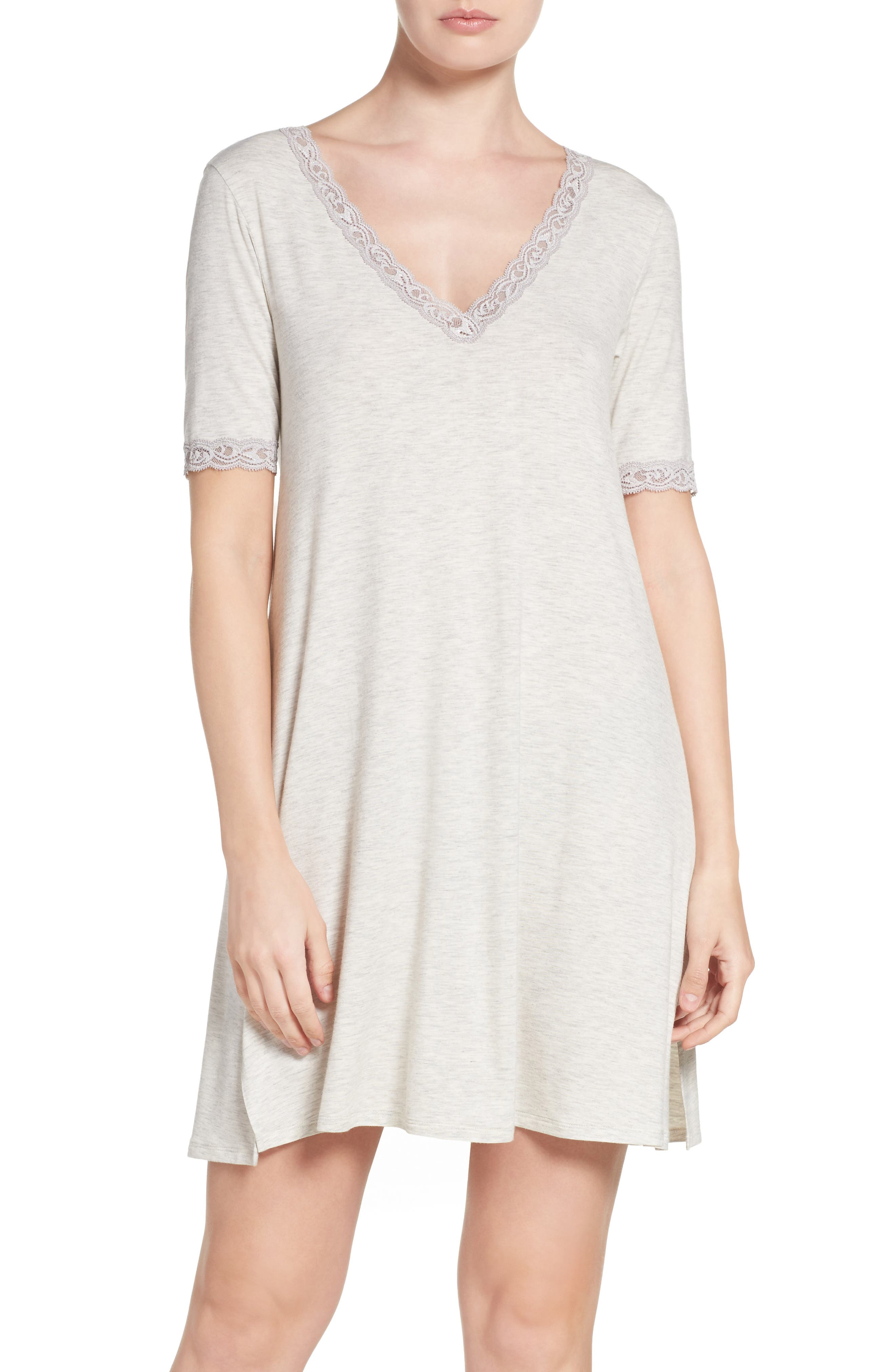 Feathers Lace-Trim Sleepshirt, Black in Heathered Ink