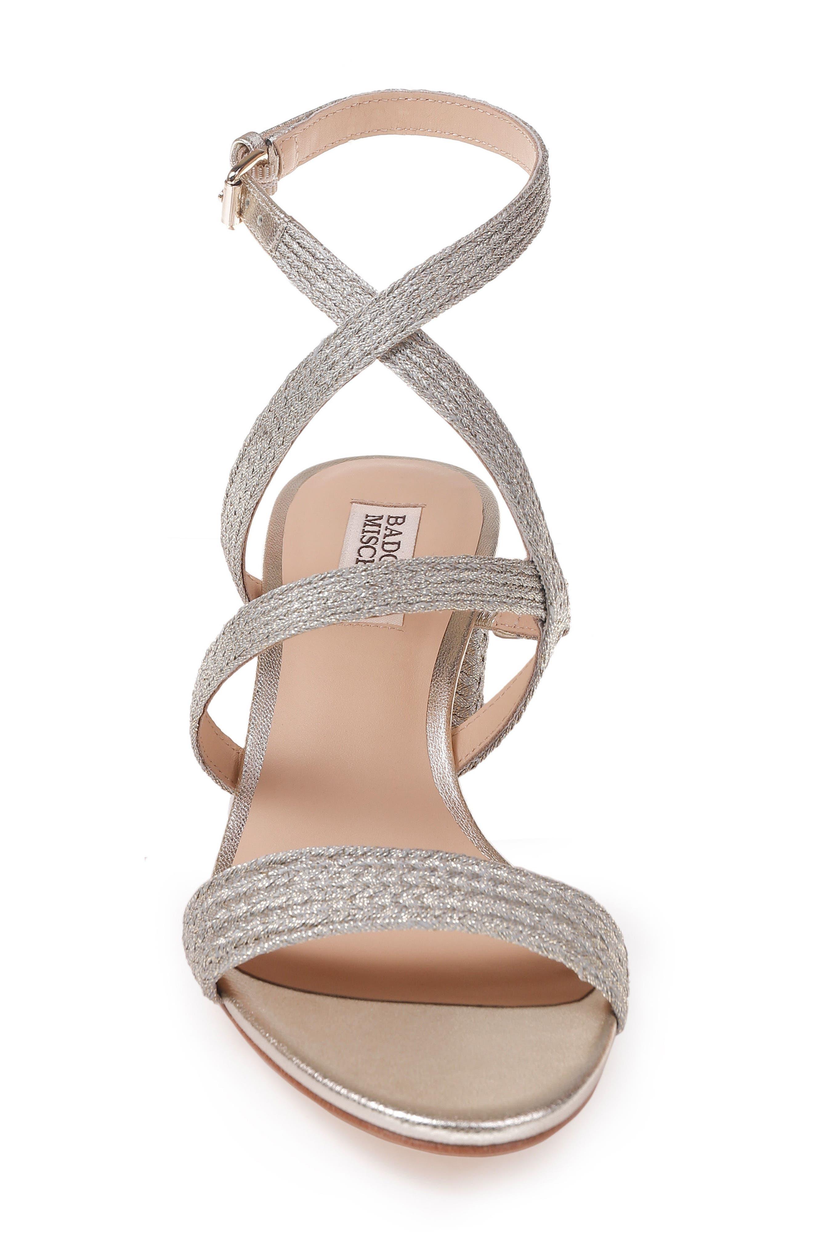 Storm Block Heel Sandal,                             Alternate thumbnail 4, color,                             PLATINO FABRIC