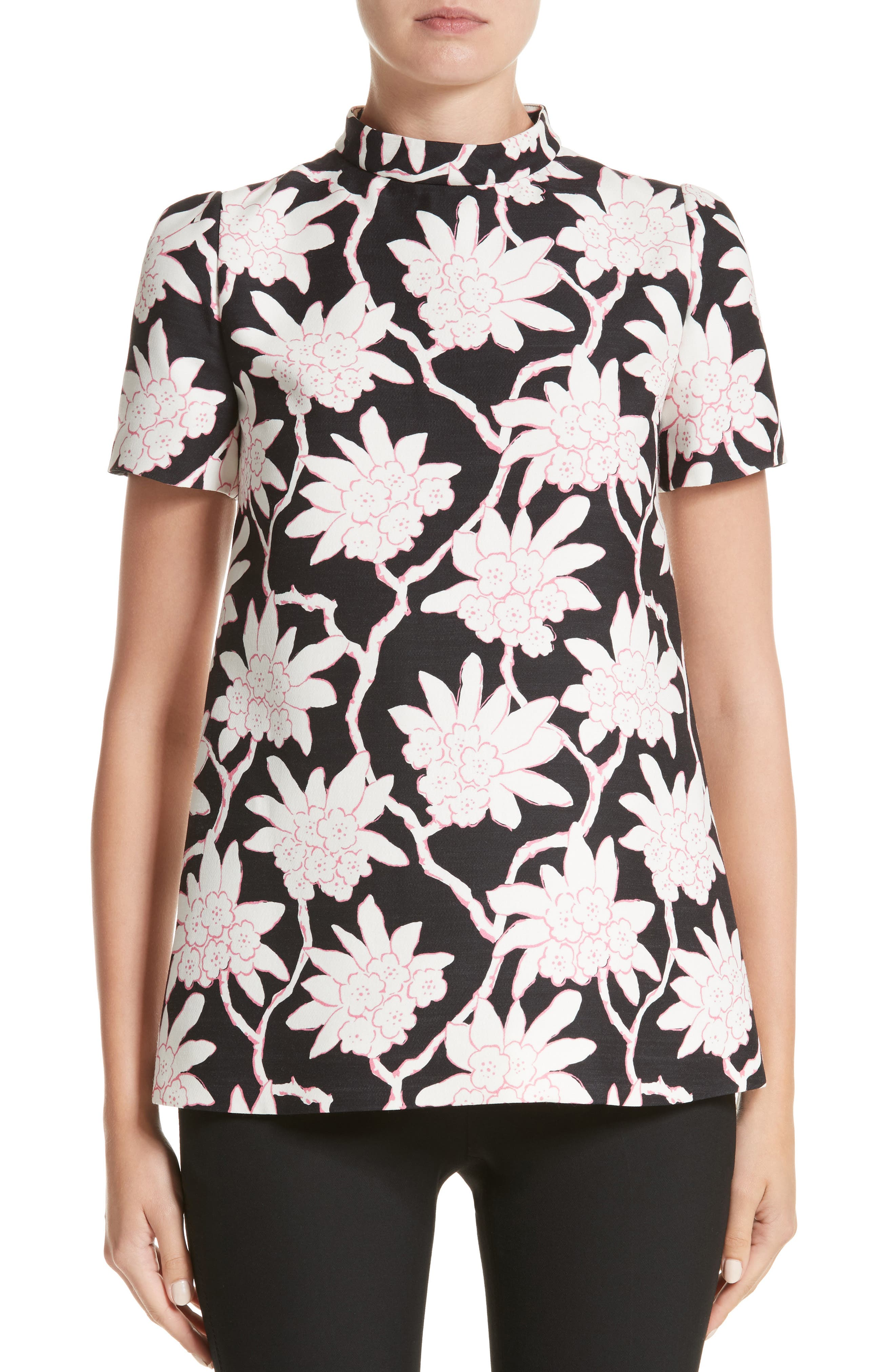 Rhododendron Print Wool & Silk Top,                         Main,                         color, 001
