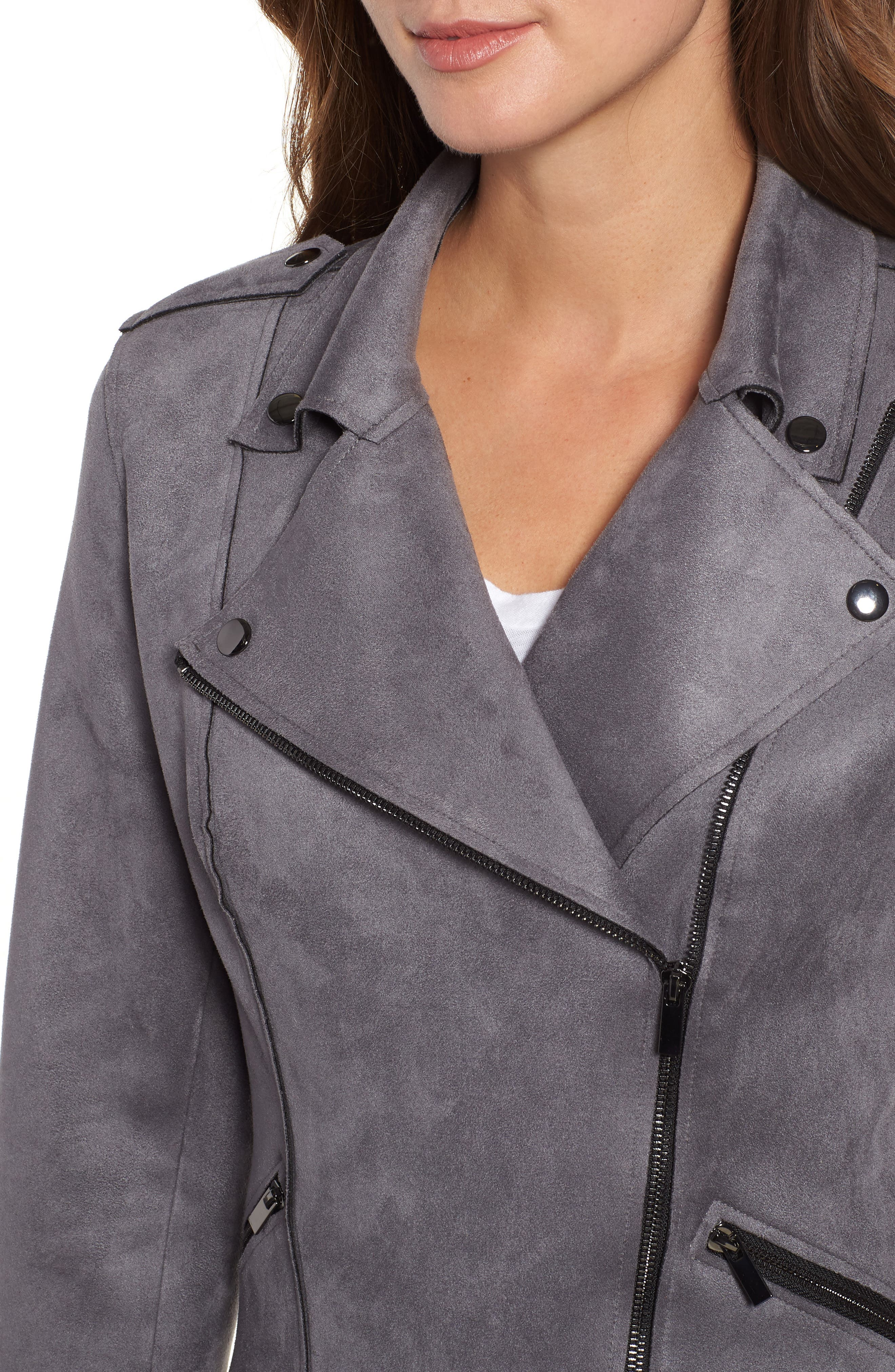 KUT FROM THE KLOTH,                             Haddie Faux Suede Moto Jacket,                             Alternate thumbnail 5, color,                             026