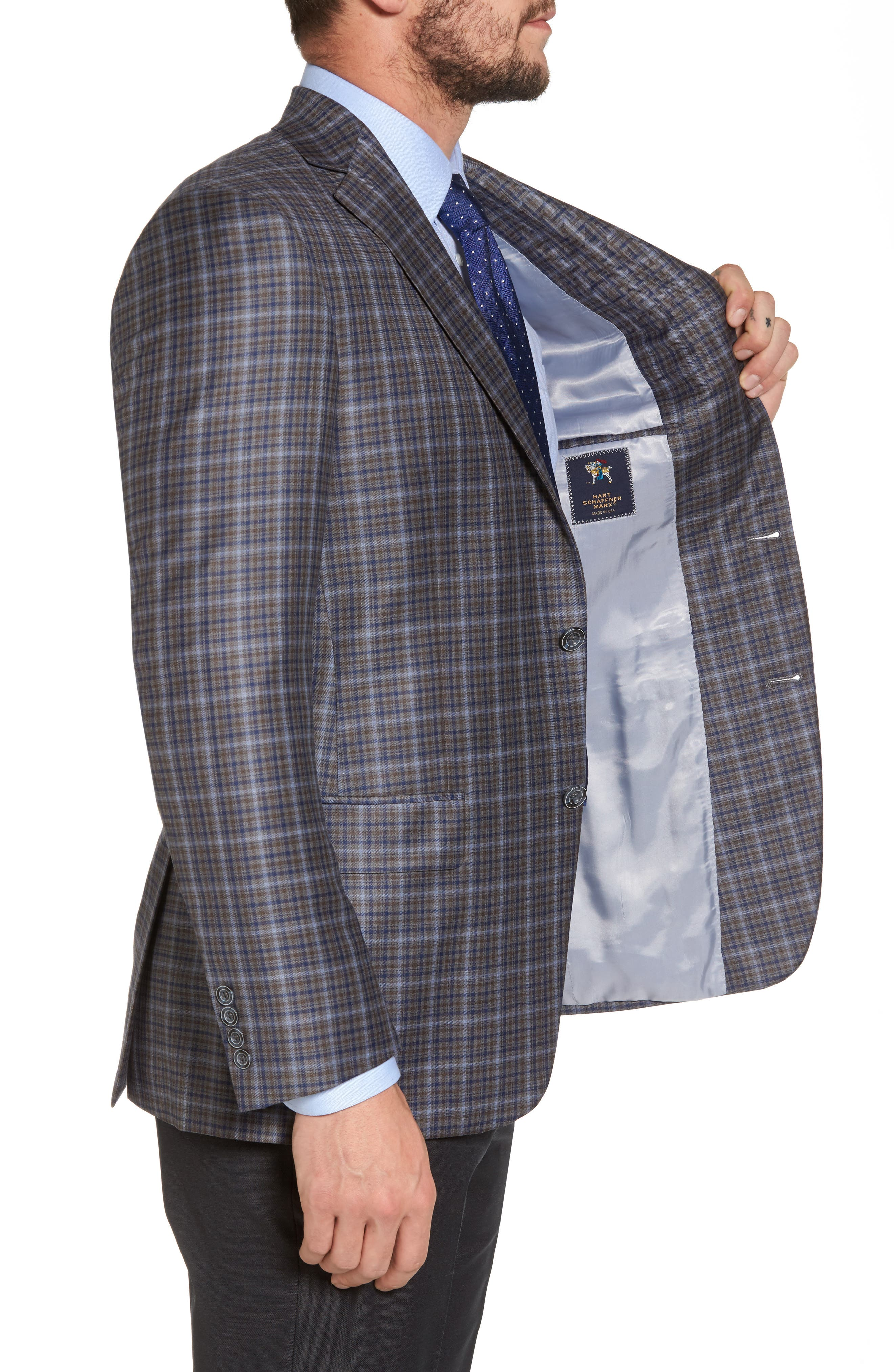 Classic Fit Plaid Wool Sport Coat,                             Alternate thumbnail 3, color,                             280