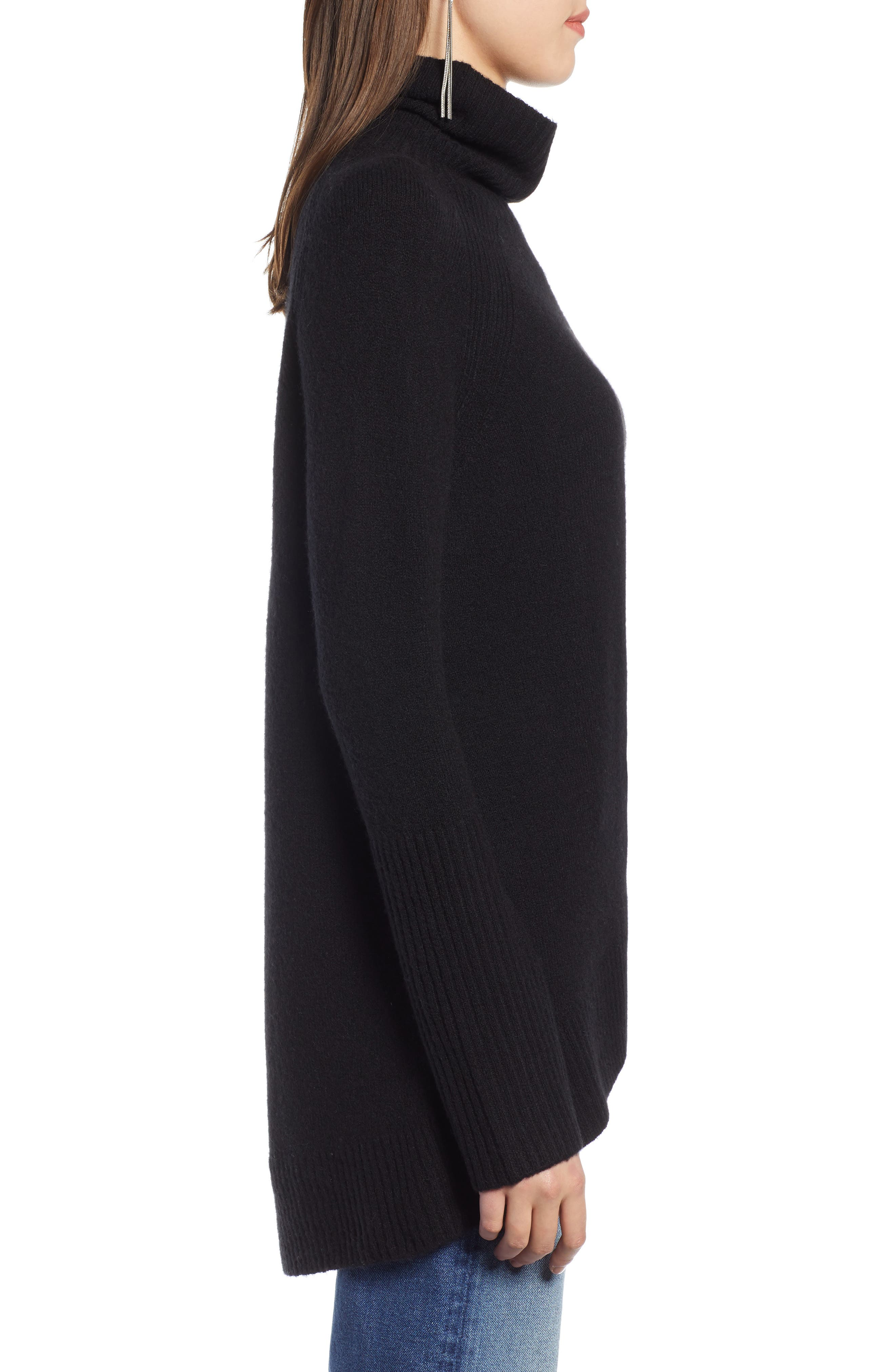 High Low Oversize Wool Blend Sweater,                             Alternate thumbnail 4, color,                             BLACK