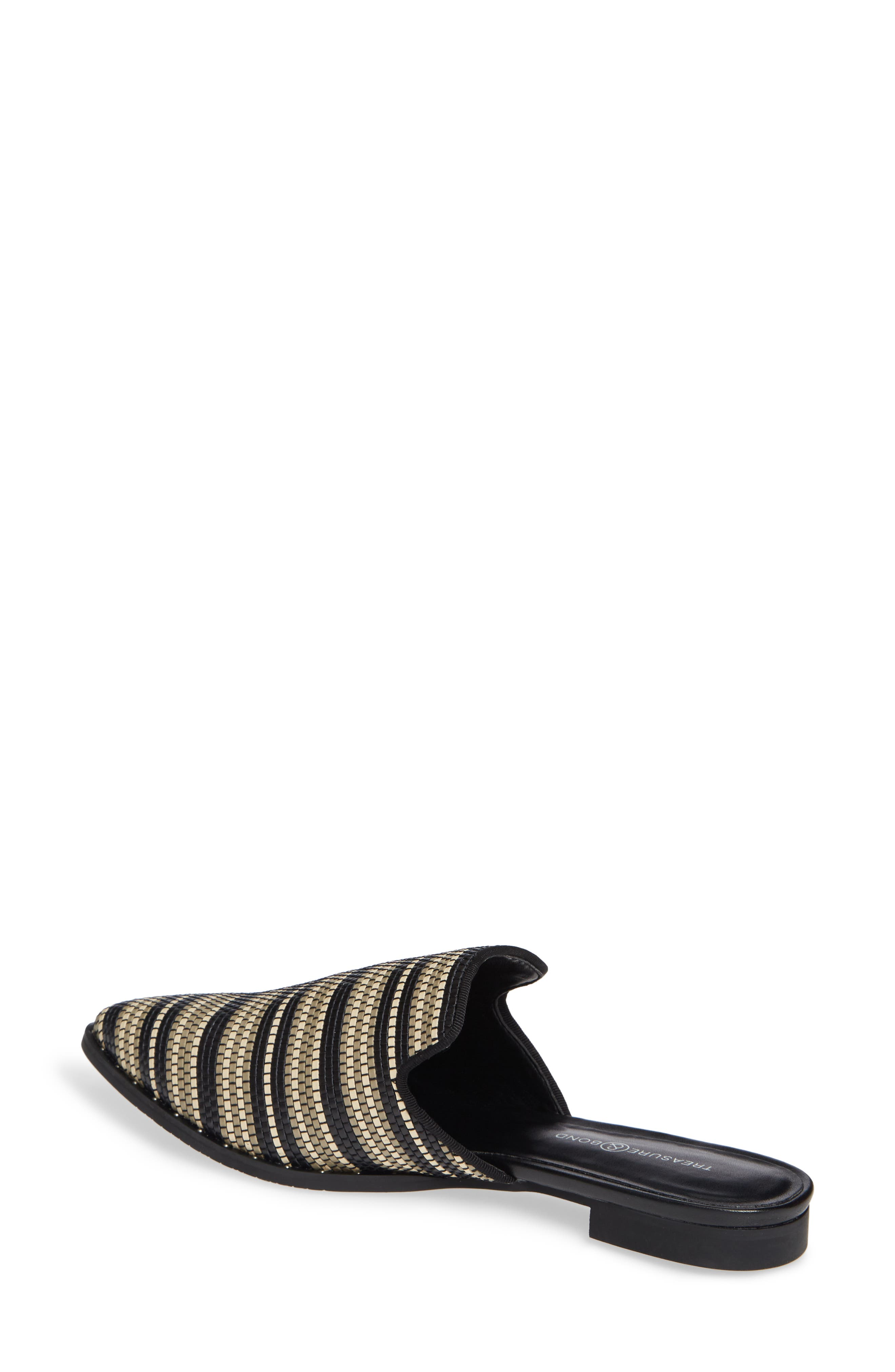 Keaton Loafer Mule,                             Alternate thumbnail 2, color,                             BLACK WOVEN FAUX LEATHER