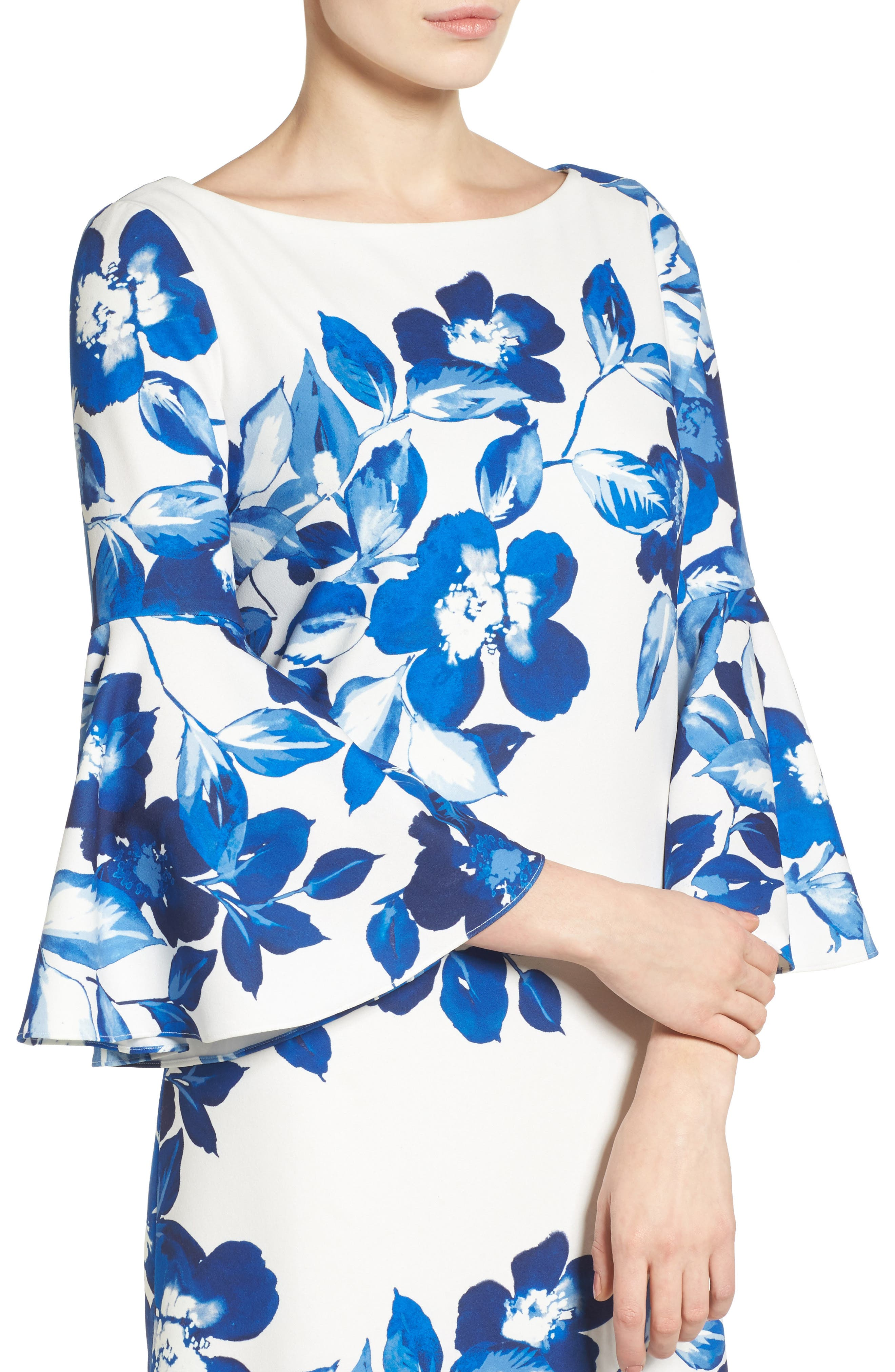 Floral Shift Dress,                             Alternate thumbnail 4, color,                             BLUE/ IVORY
