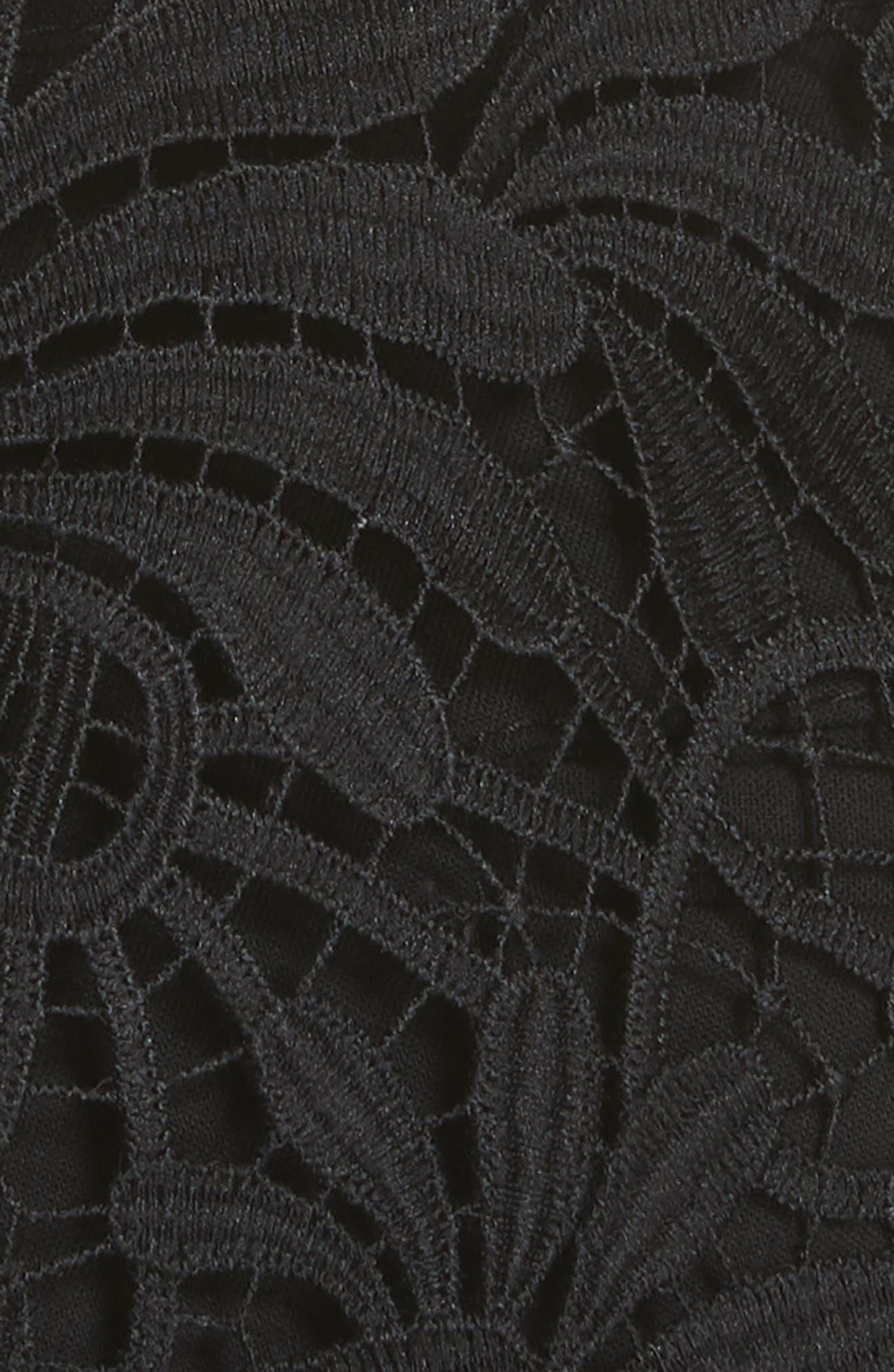 Beaded Yoke Lace Handkerchief Hem Top,                             Alternate thumbnail 5, color,                             001