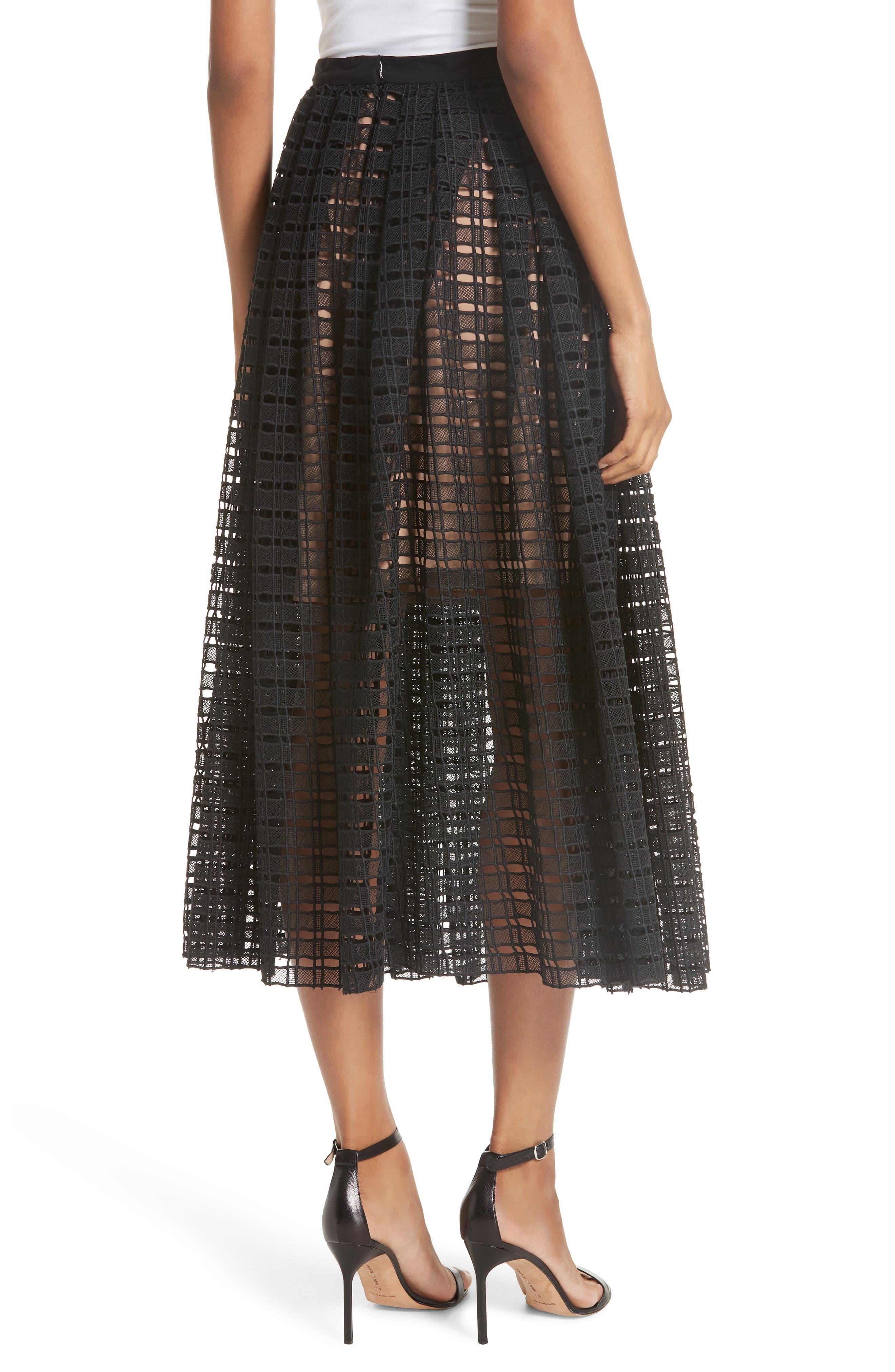 Lace Mesh Midi Skirt,                             Alternate thumbnail 2, color,                             001