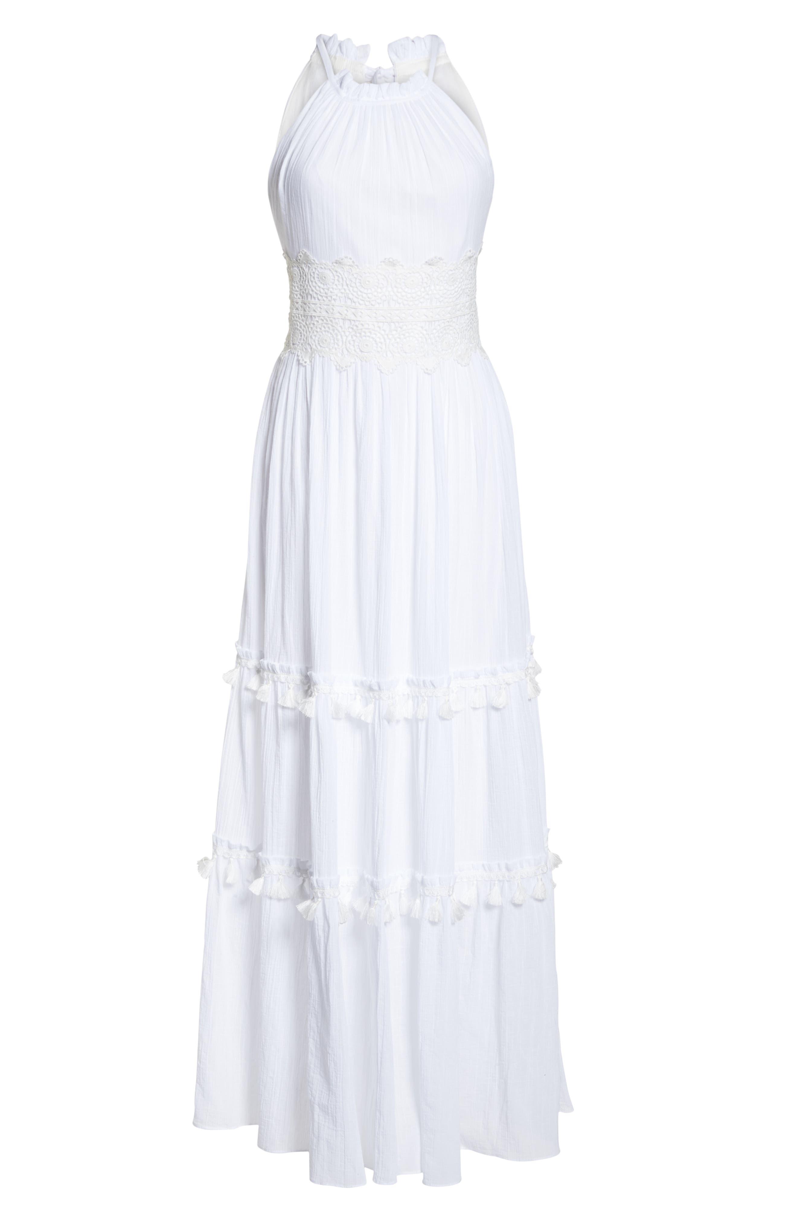 Halter Neck Cotton Maxi Dress,                             Alternate thumbnail 7, color,                             IVORY