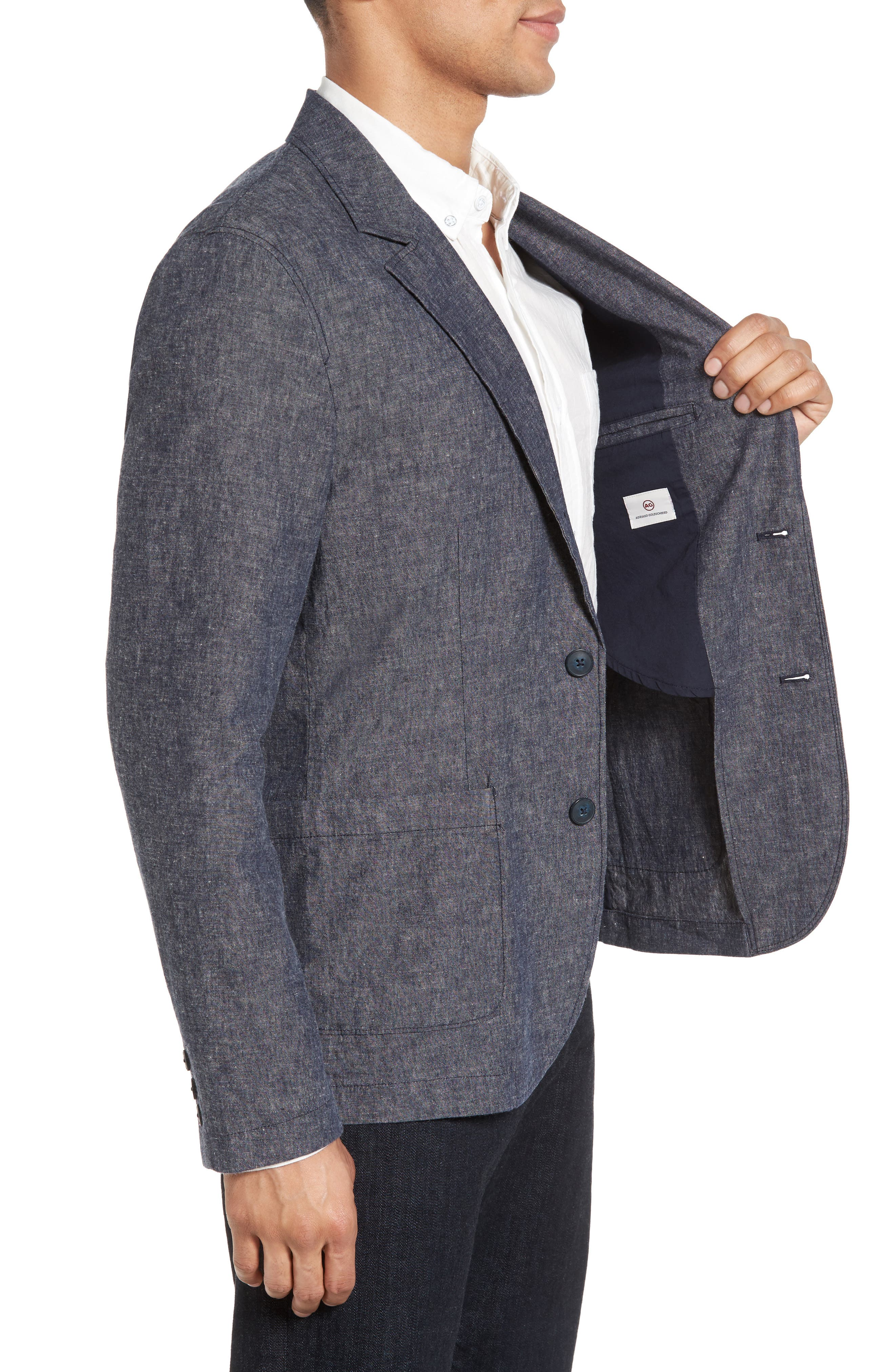 Trunnel Slim Fit Linen Blend Blazer,                             Alternate thumbnail 3, color,                             485
