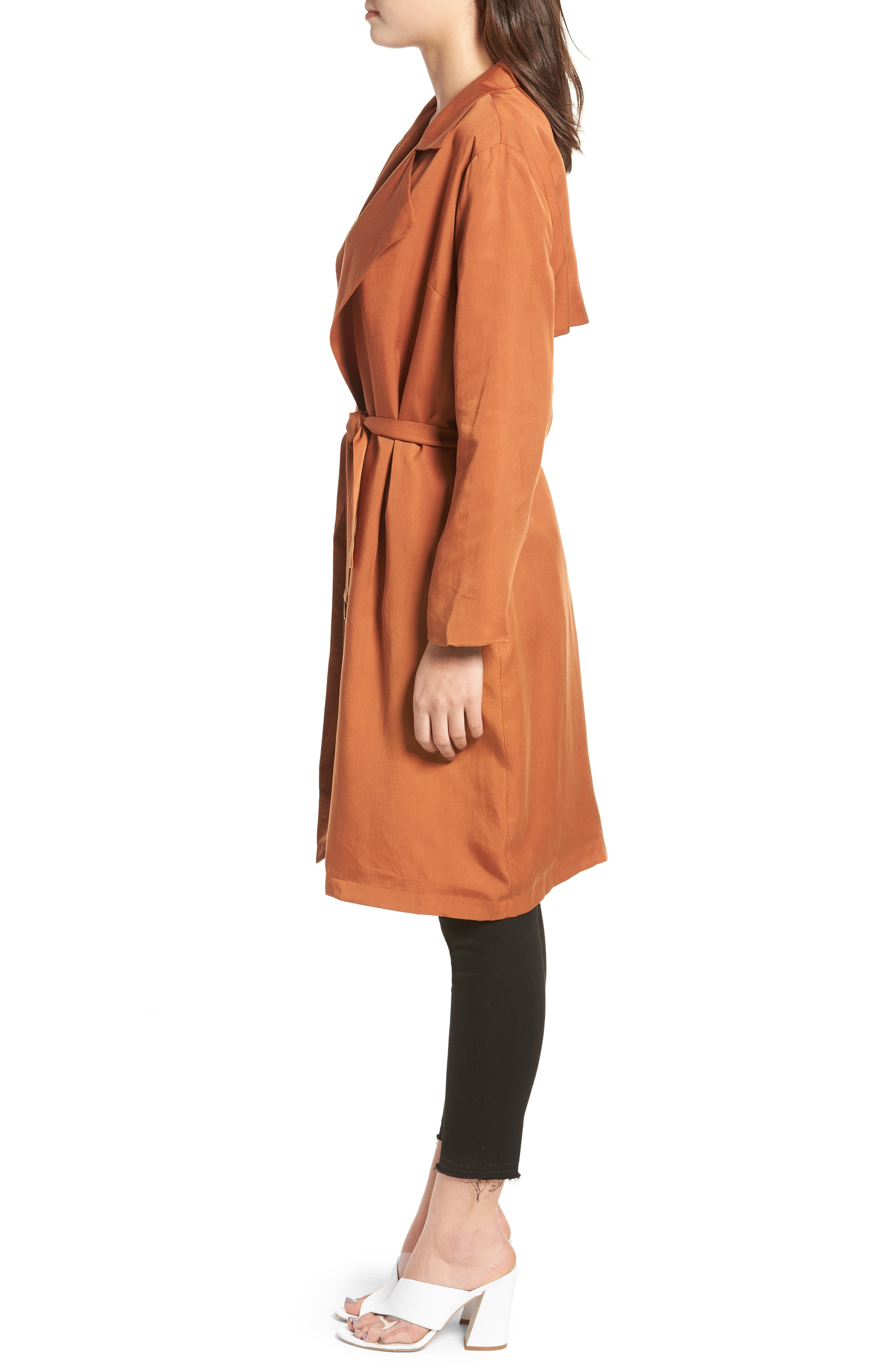 LIRA CLOTHING,                             Carmen Belted Trench Coat,                             Alternate thumbnail 3, color,                             BROWN