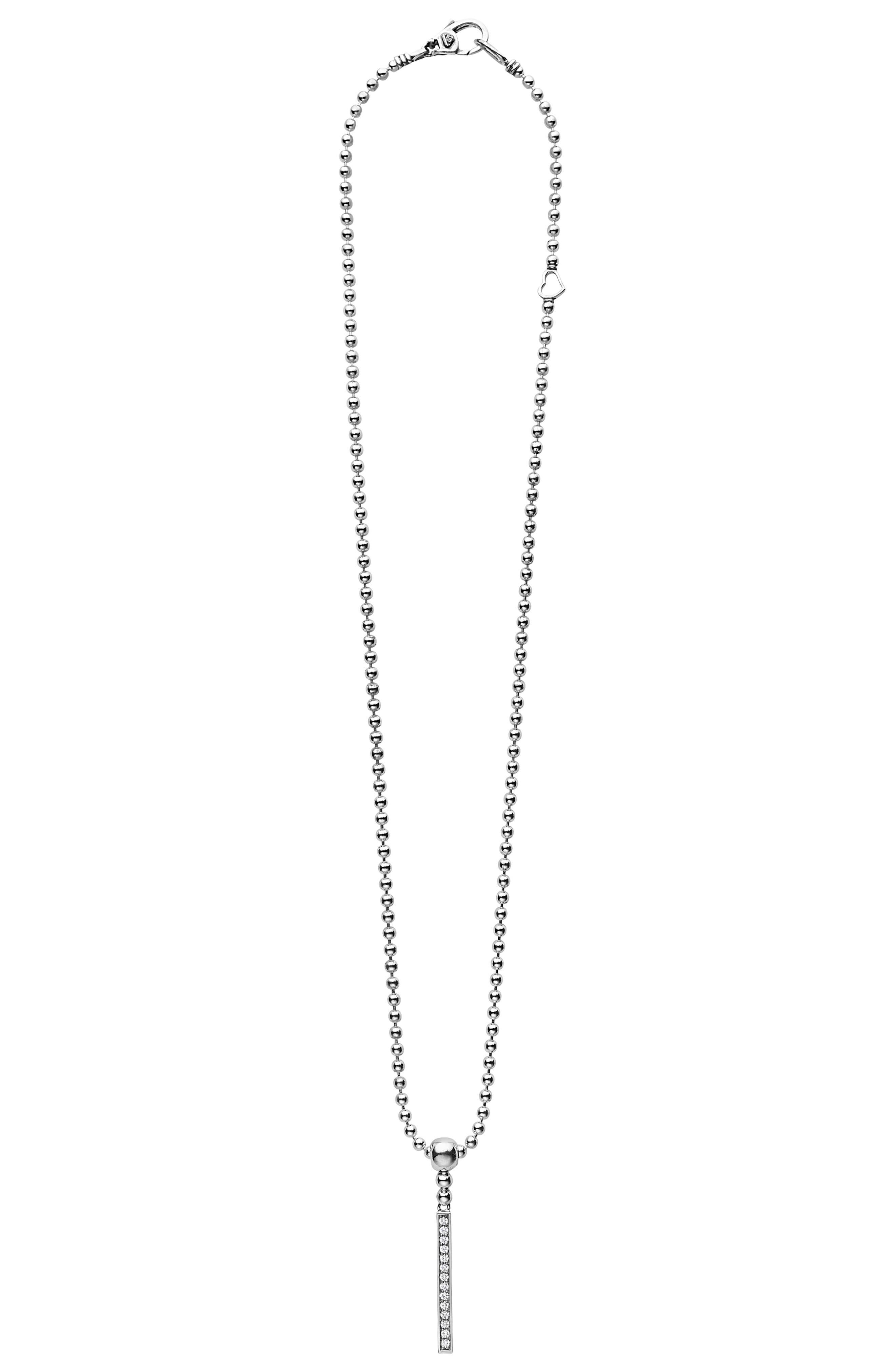 LAGOS Caviar Spark Diamond Bar Pendant Necklace, Main, color, SILVER/ DIAMOND