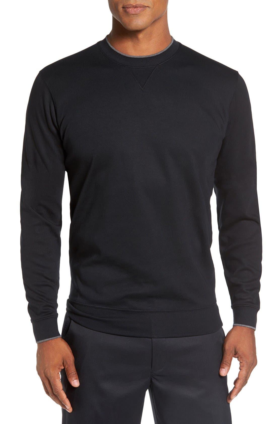 'Walker' Tipped Pima Cotton Long Sleeve T-Shirt,                             Main thumbnail 1, color,                             001