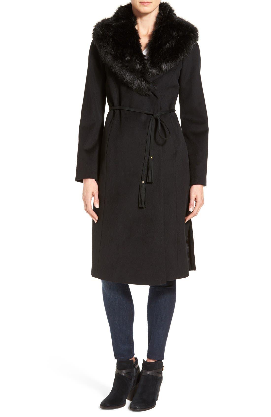 Faux Fur Shawl Collar Wool Blend Wrap Coat,                         Main,                         color, 001