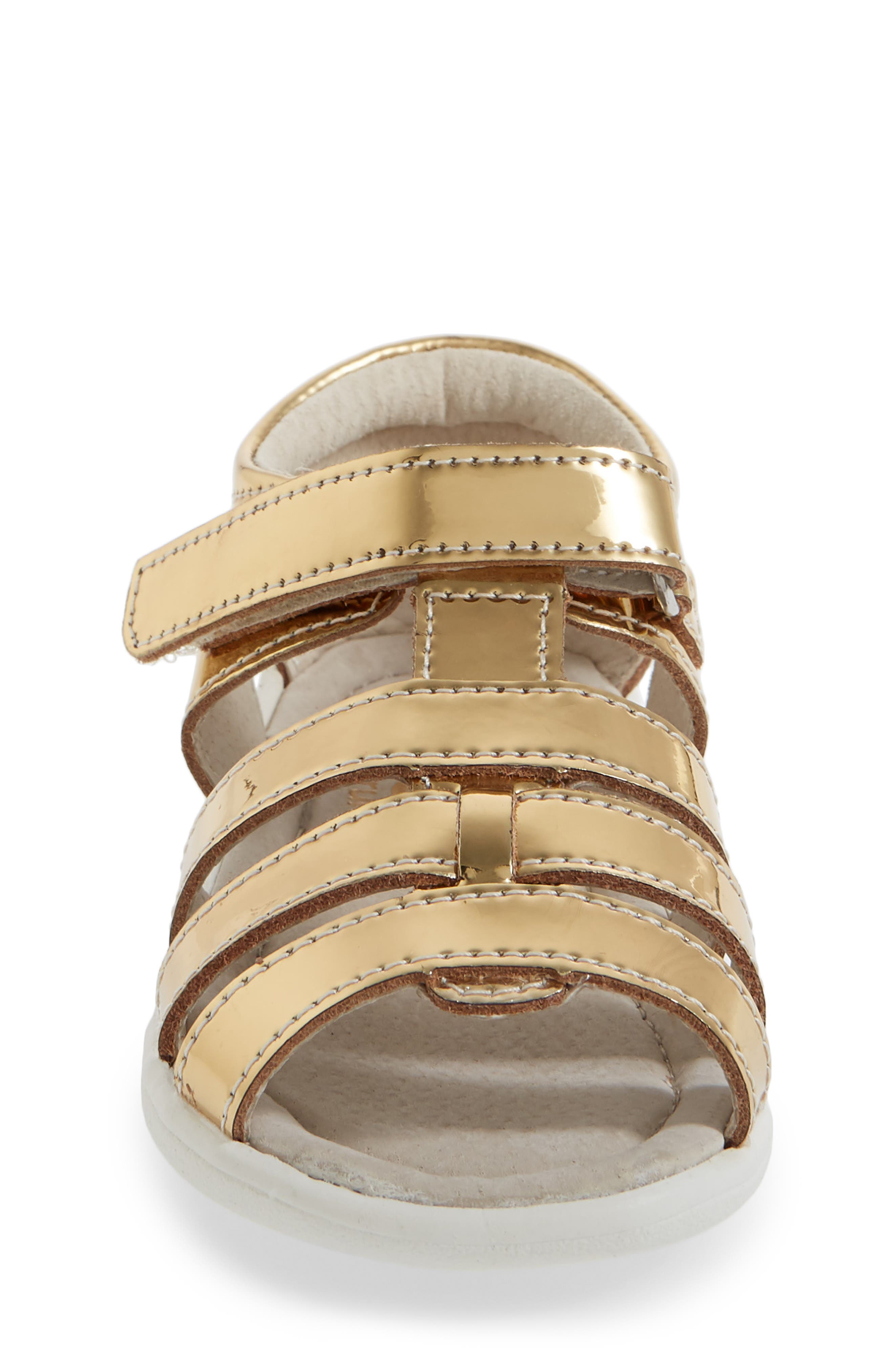 'Fe' Metallic Leather Gladiator Sandal,                             Alternate thumbnail 4, color,                             710