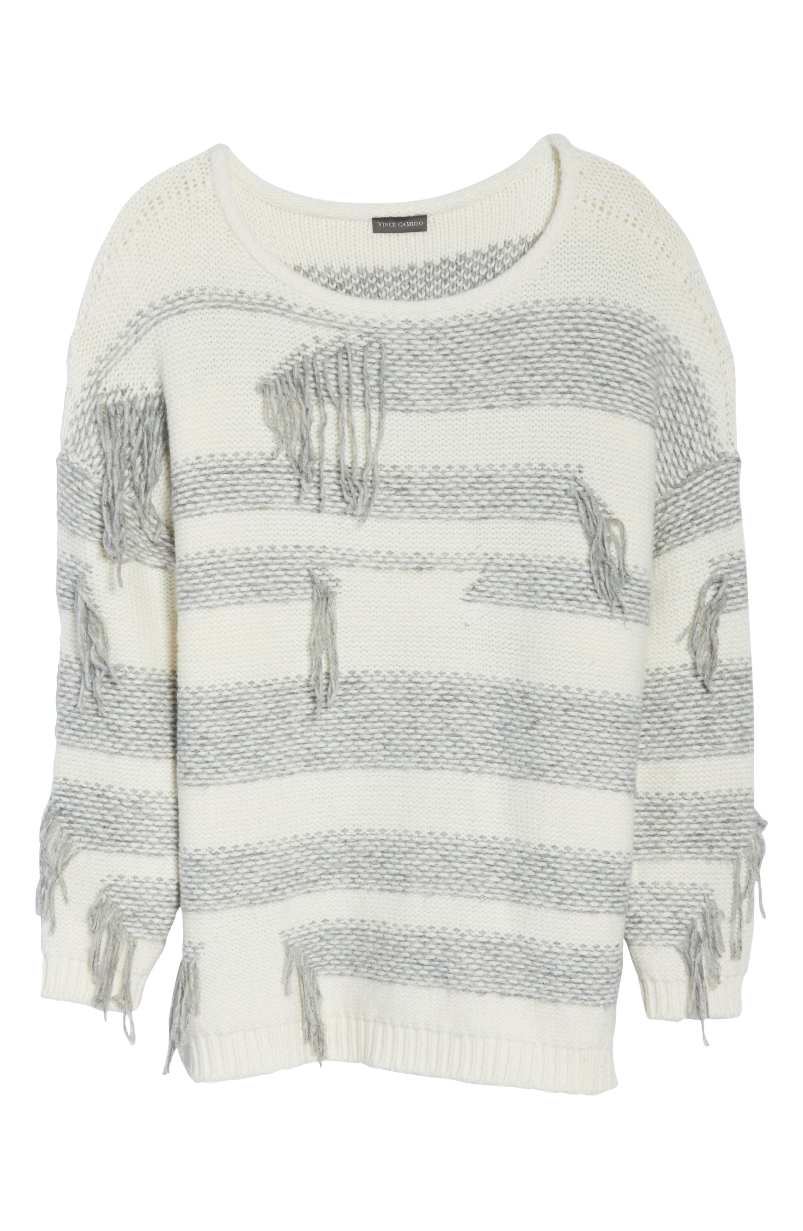 Fringe Detail Stripe Cotton Blend Sweater,                             Alternate thumbnail 6, color,                             LIGHT HEATHER GREY