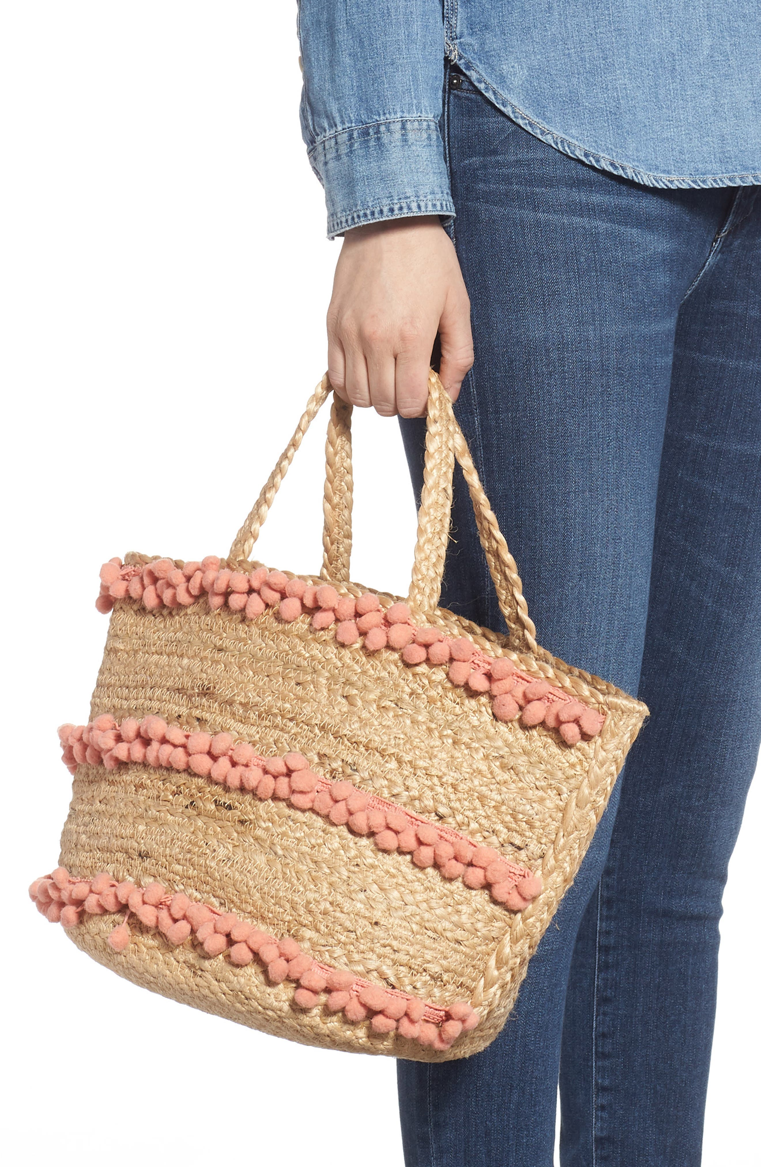 SHIRALEAH,                             Aubrey Small Pompom Jute Tote,                             Alternate thumbnail 2, color,                             650