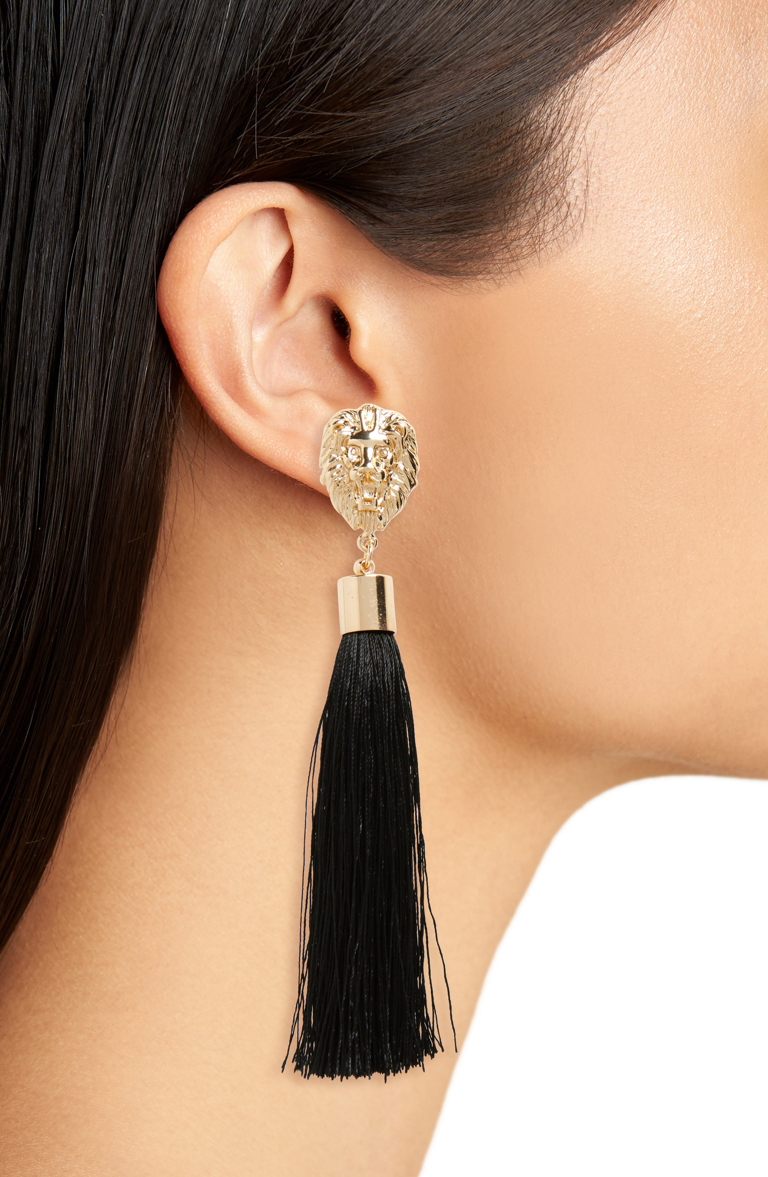 Kitch Lion Head Tassel Earrings,                             Alternate thumbnail 2, color,                             710