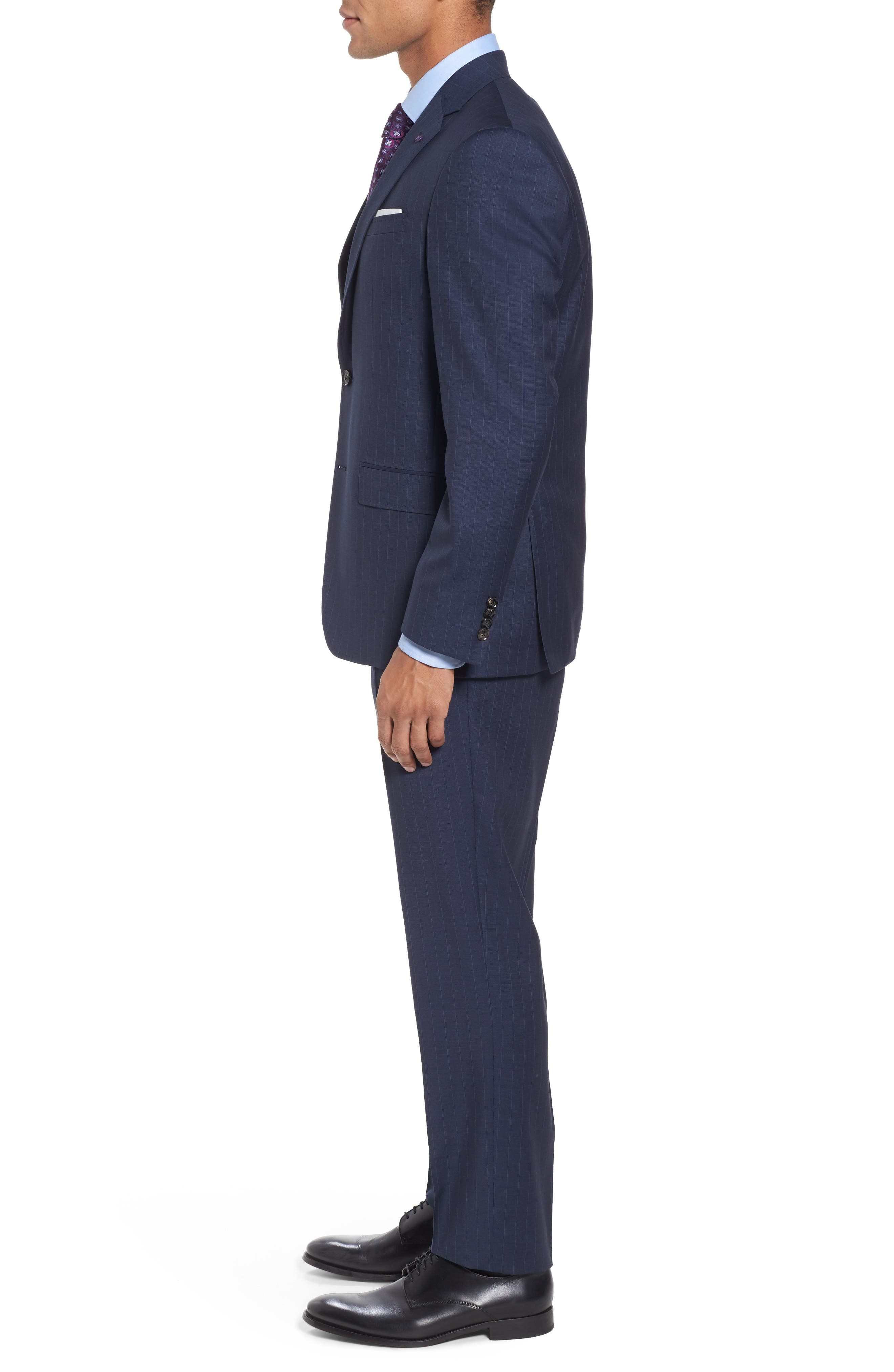 Jay Trim Fit Stripe Wool Suit,                             Alternate thumbnail 3, color,                             400