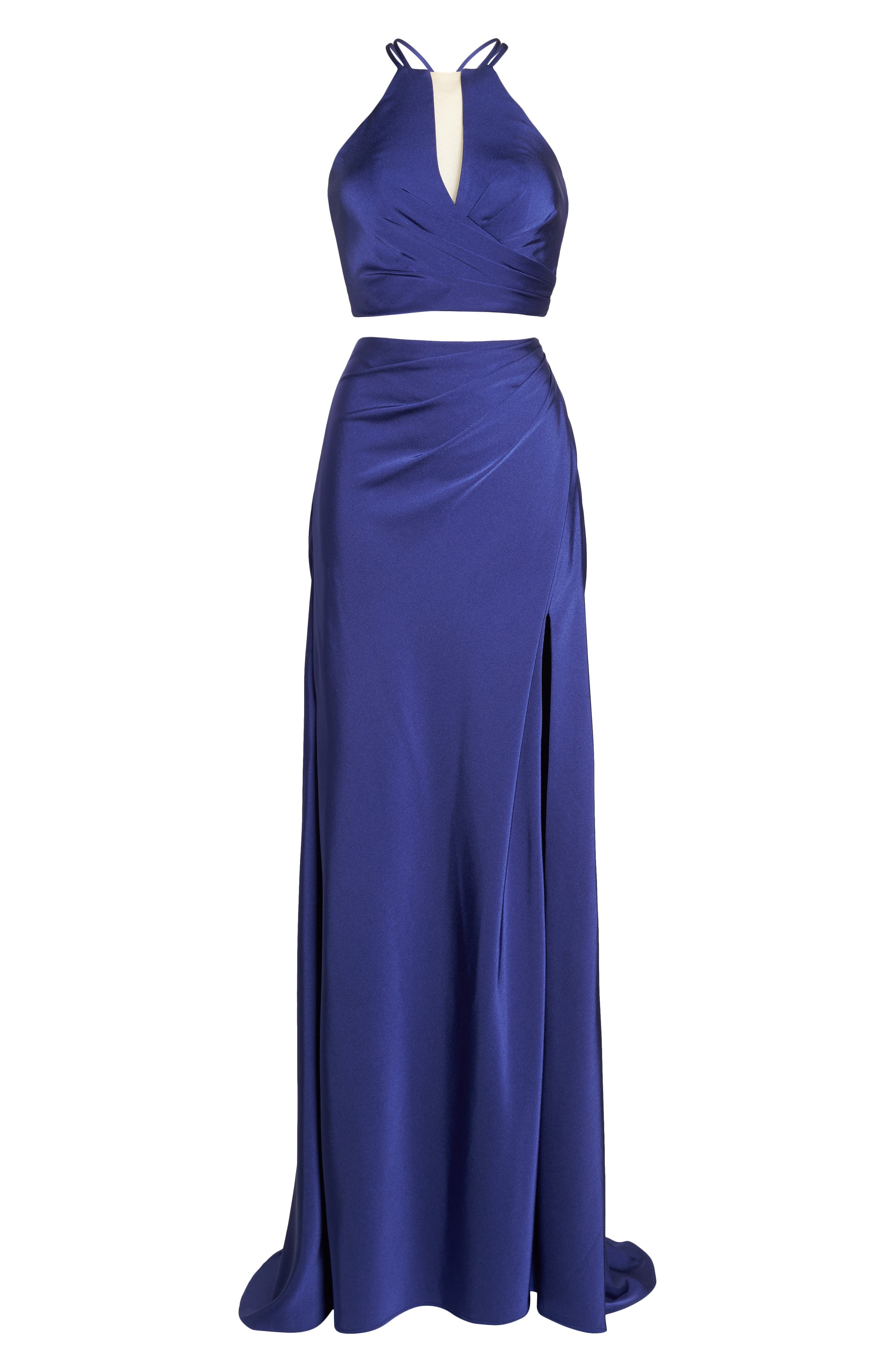 Strappy Two-Piece Sheath Gown,                             Alternate thumbnail 6, color,                             DARK PERIWINKLE
