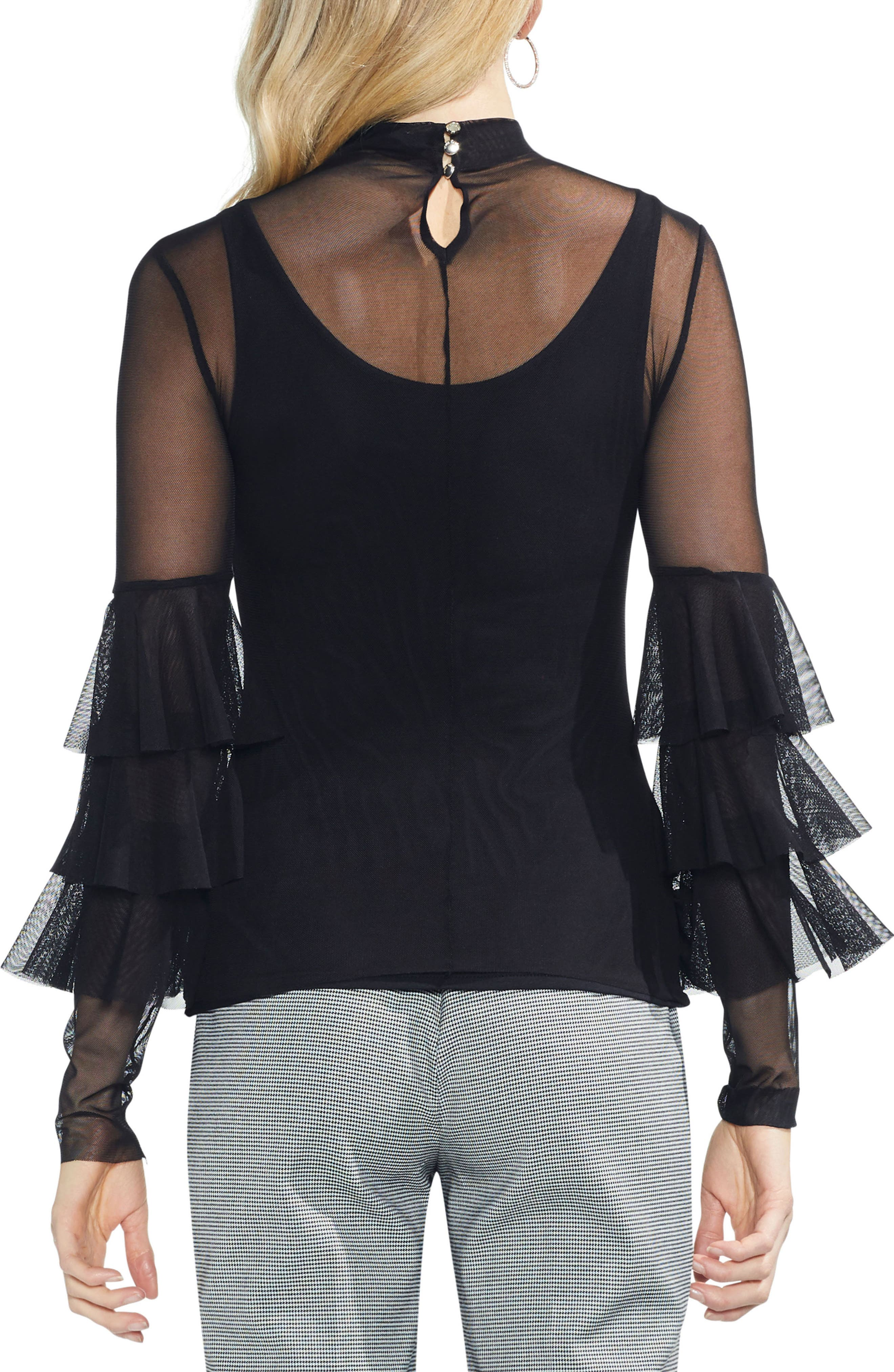 Ruffled Stretch Mesh Top,                             Alternate thumbnail 2, color,                             006