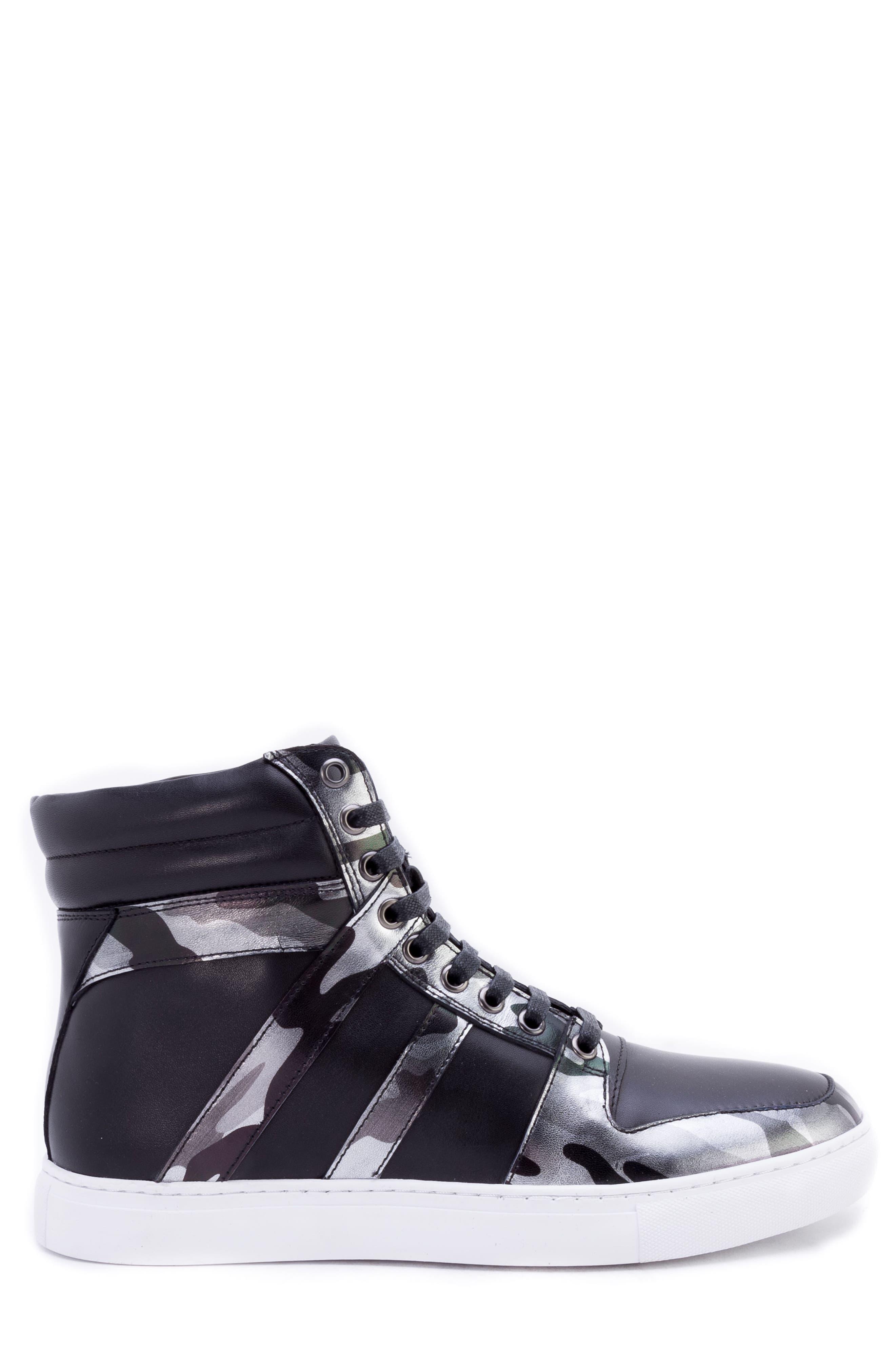 Sutherland Sneaker,                             Alternate thumbnail 3, color,                             BLACK LEATHER