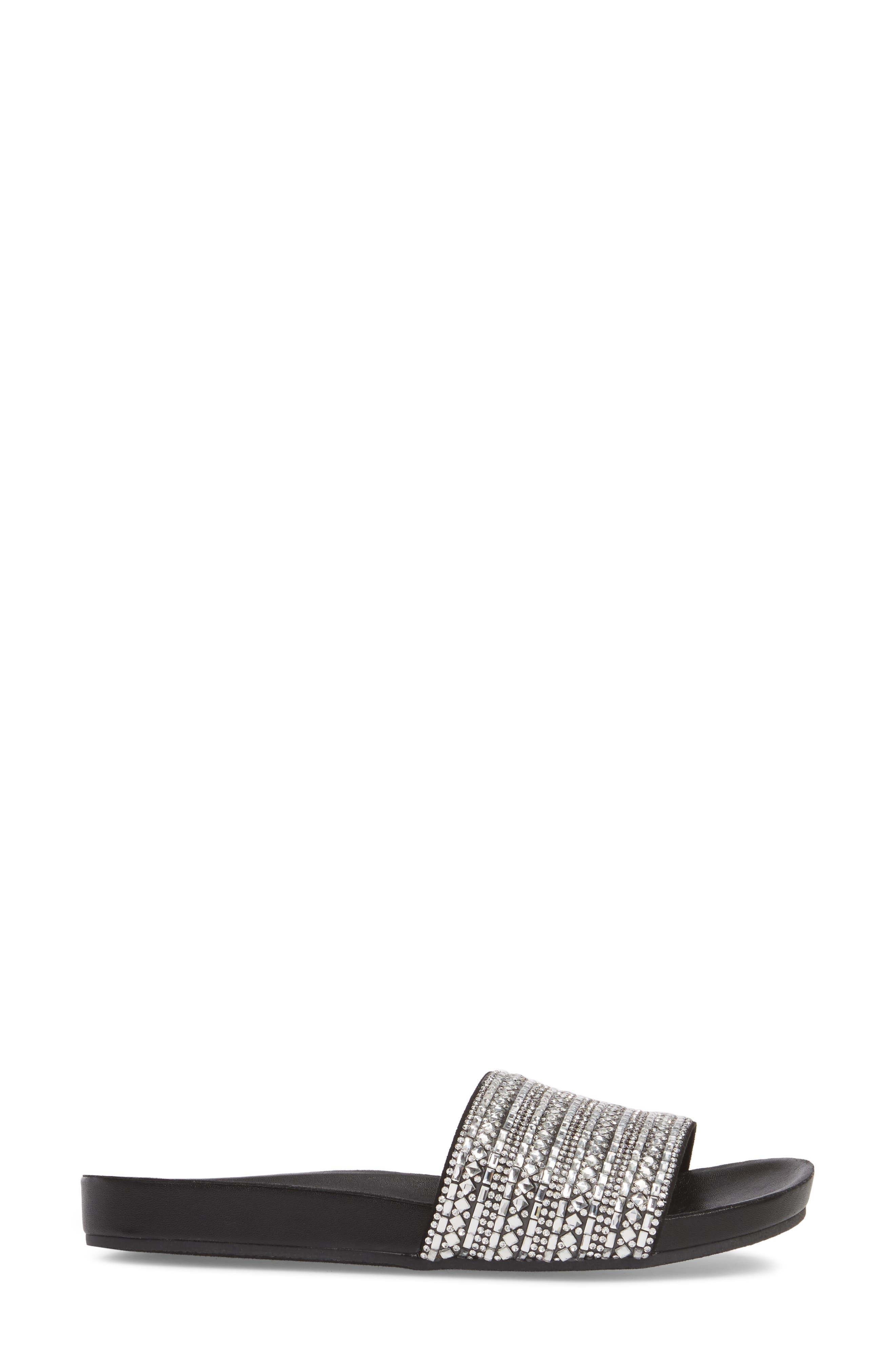 Dazzle Embellished Slide Sandal,                             Alternate thumbnail 3, color,                             015