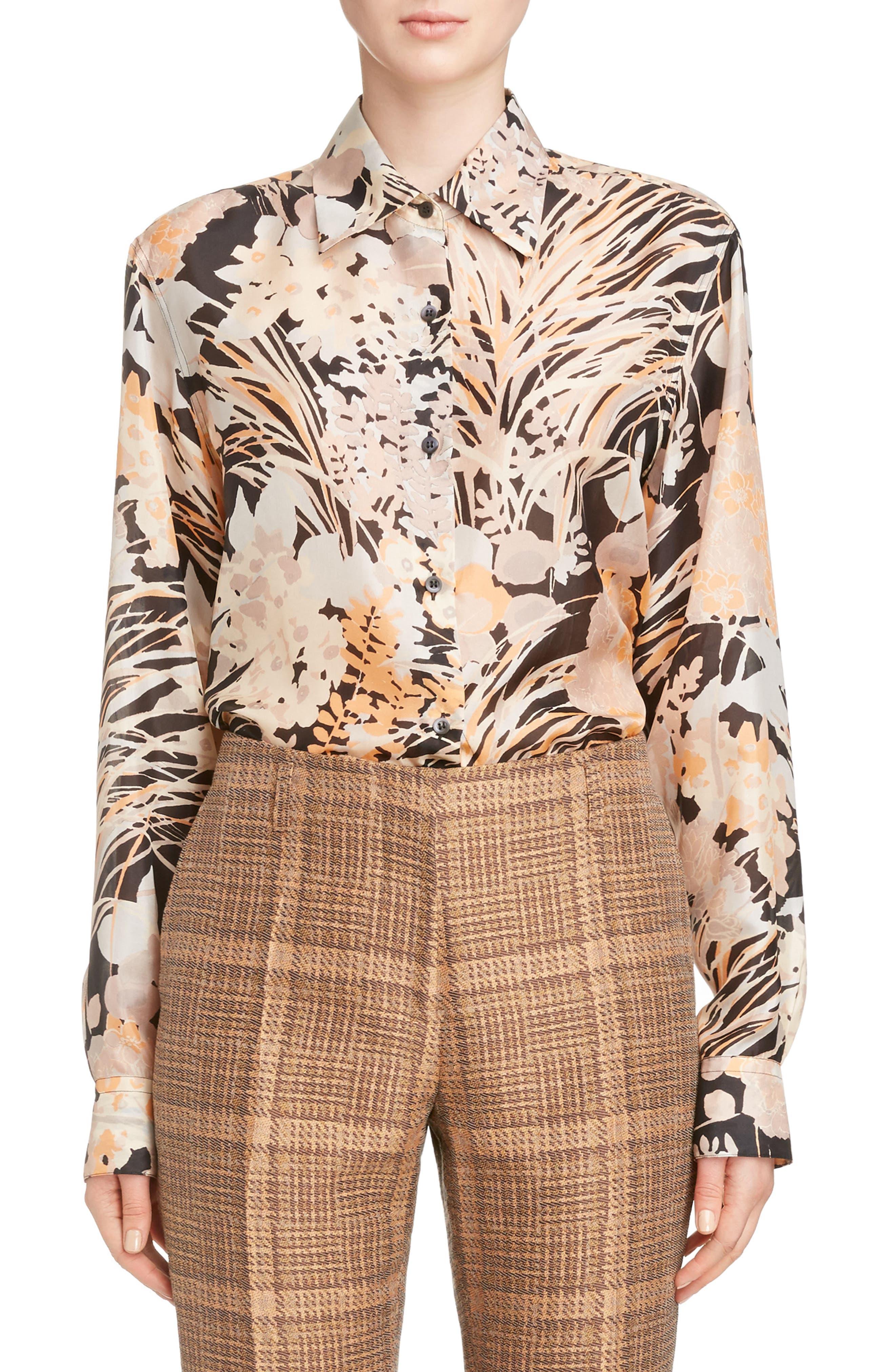 Floral Silk Blouse,                         Main,                         color,