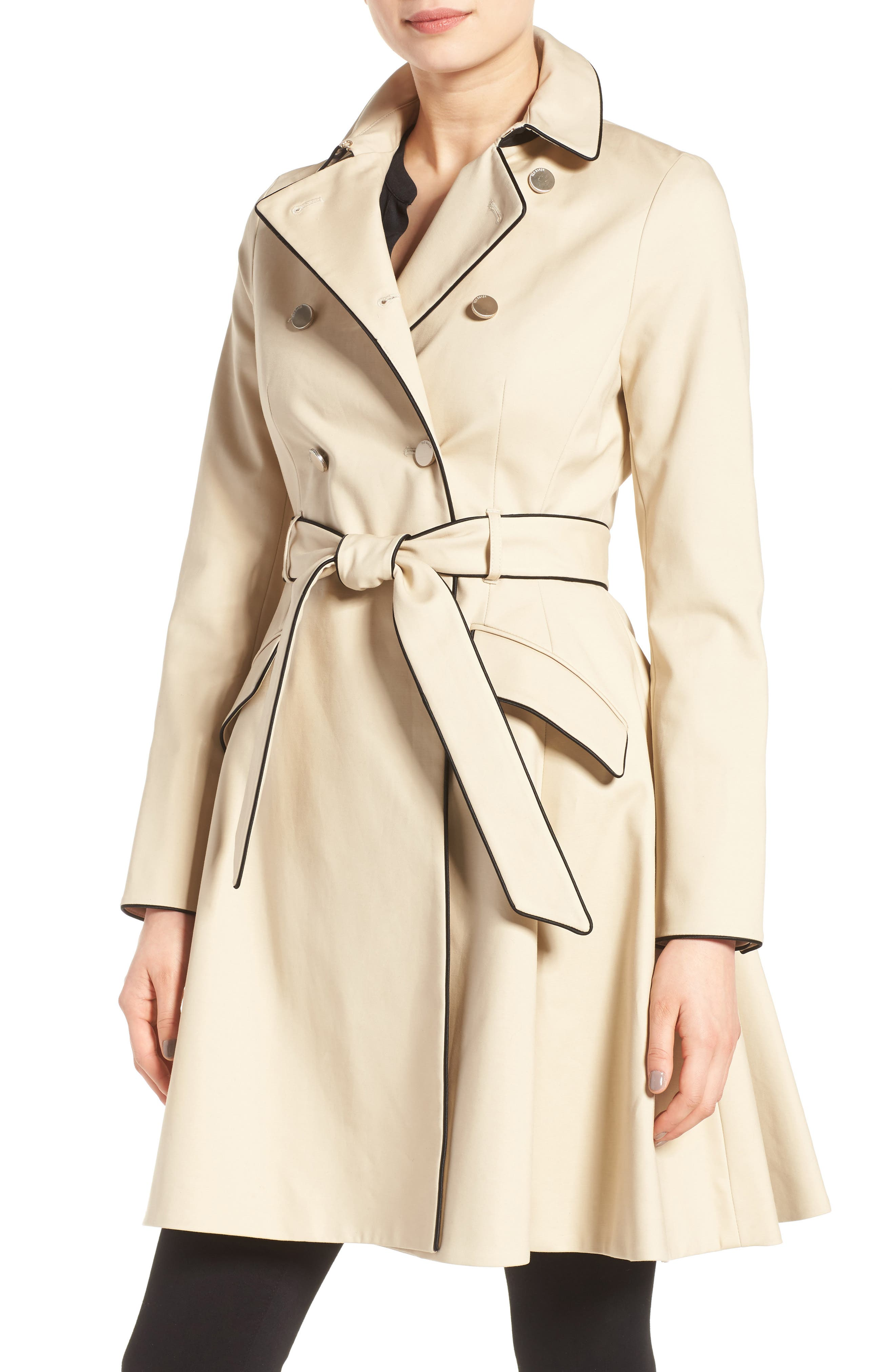 Piped Belted A-Line Macintosh Coat,                             Main thumbnail 1, color,