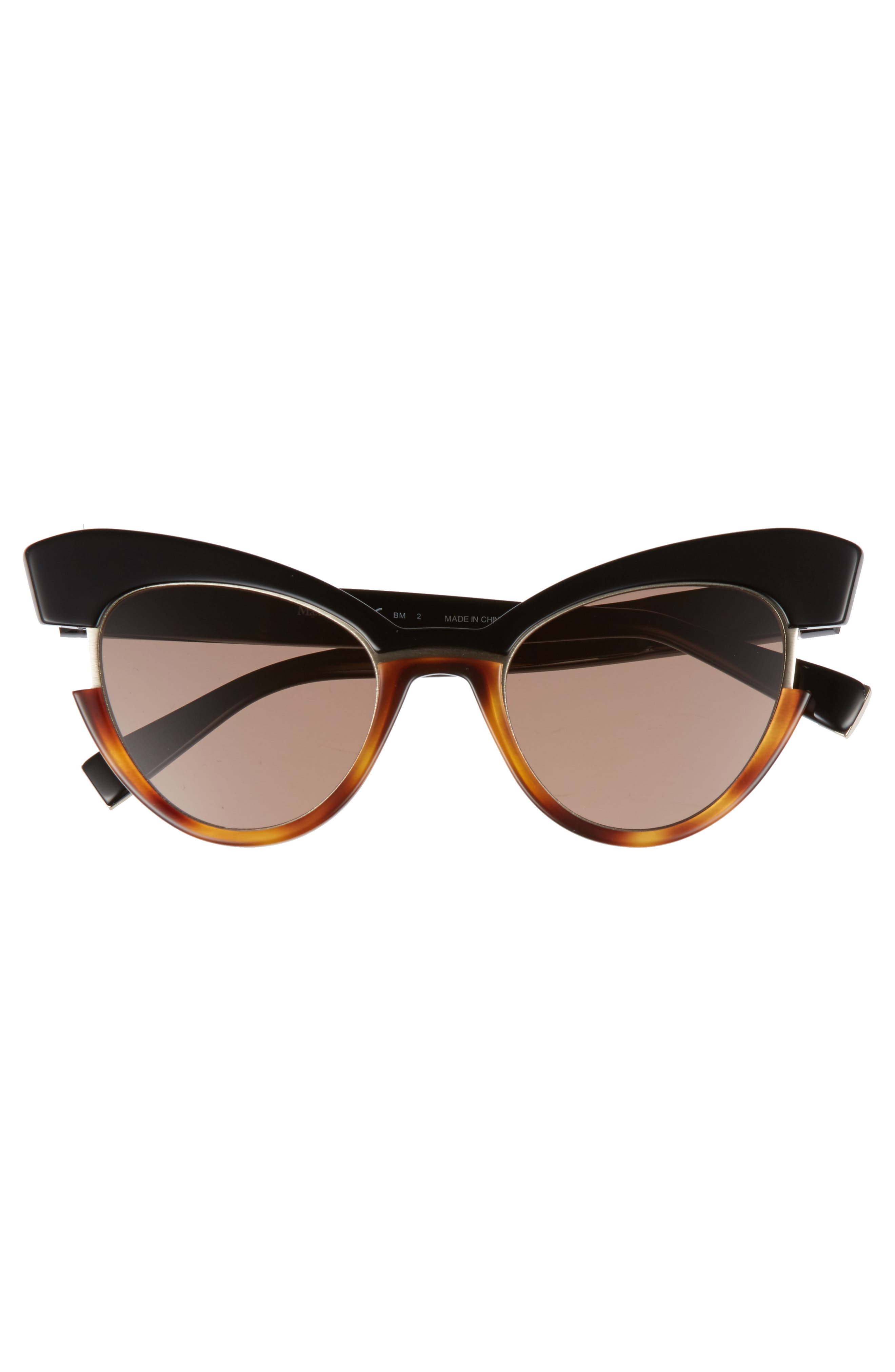 49mm Gradient Lens Cat Eye Sunglasses,                             Alternate thumbnail 3, color,                             BLACK HAVANA
