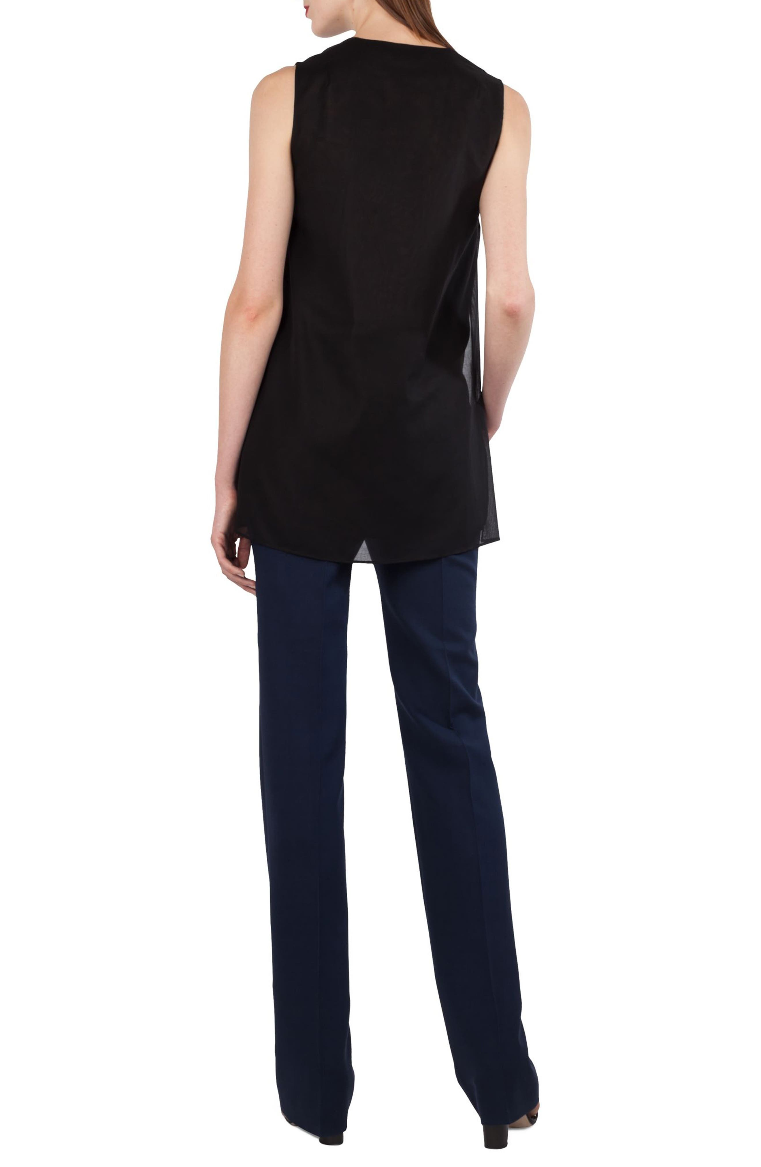 AKRIS,                             Carl Double Face Stretch Wool & Silk Trousers,                             Alternate thumbnail 4, color,                             DENIM BLACK