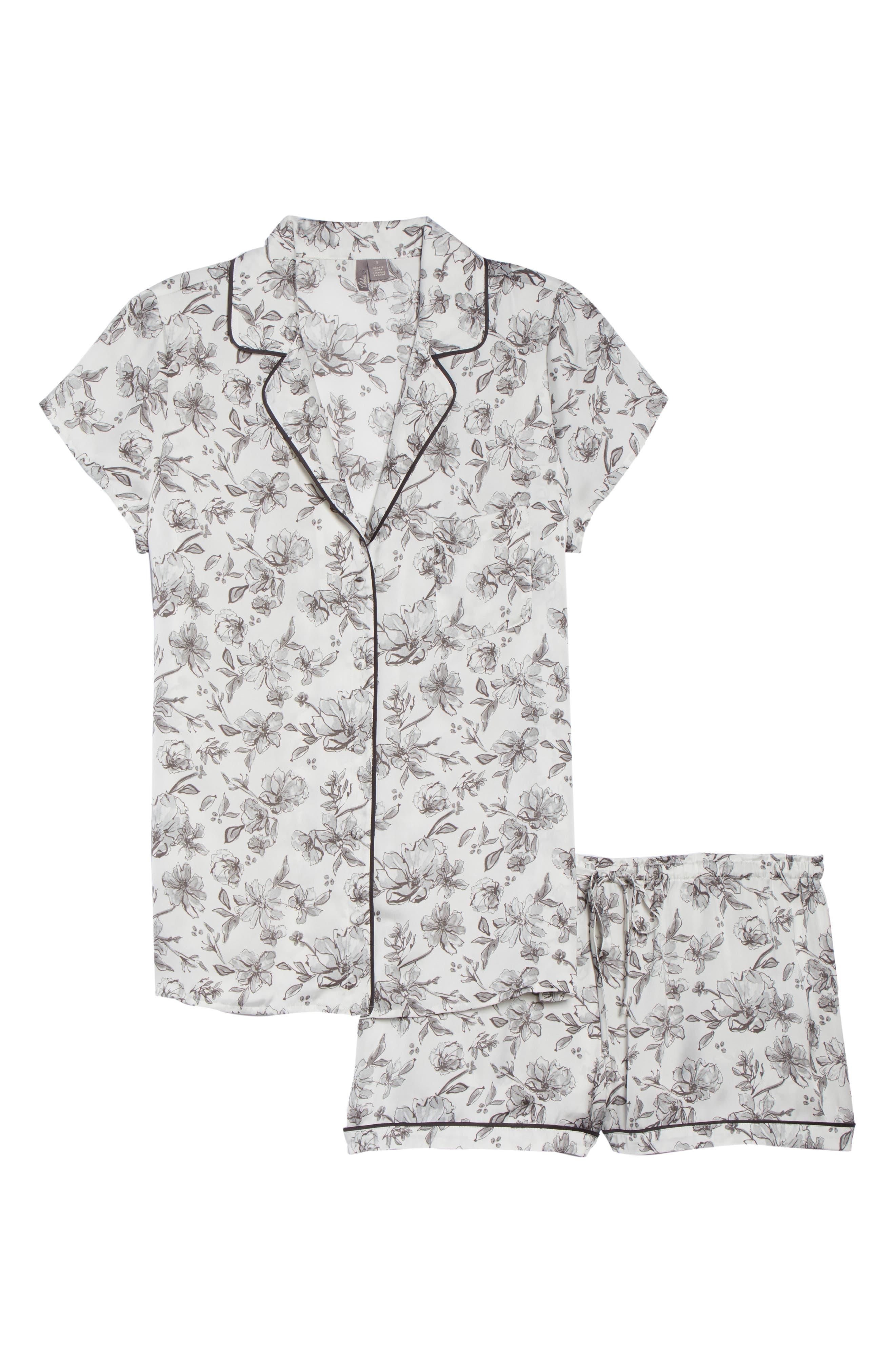 Satin Pajamas,                             Alternate thumbnail 6, color,                             IVORY EGRET LOVELY FLORAL