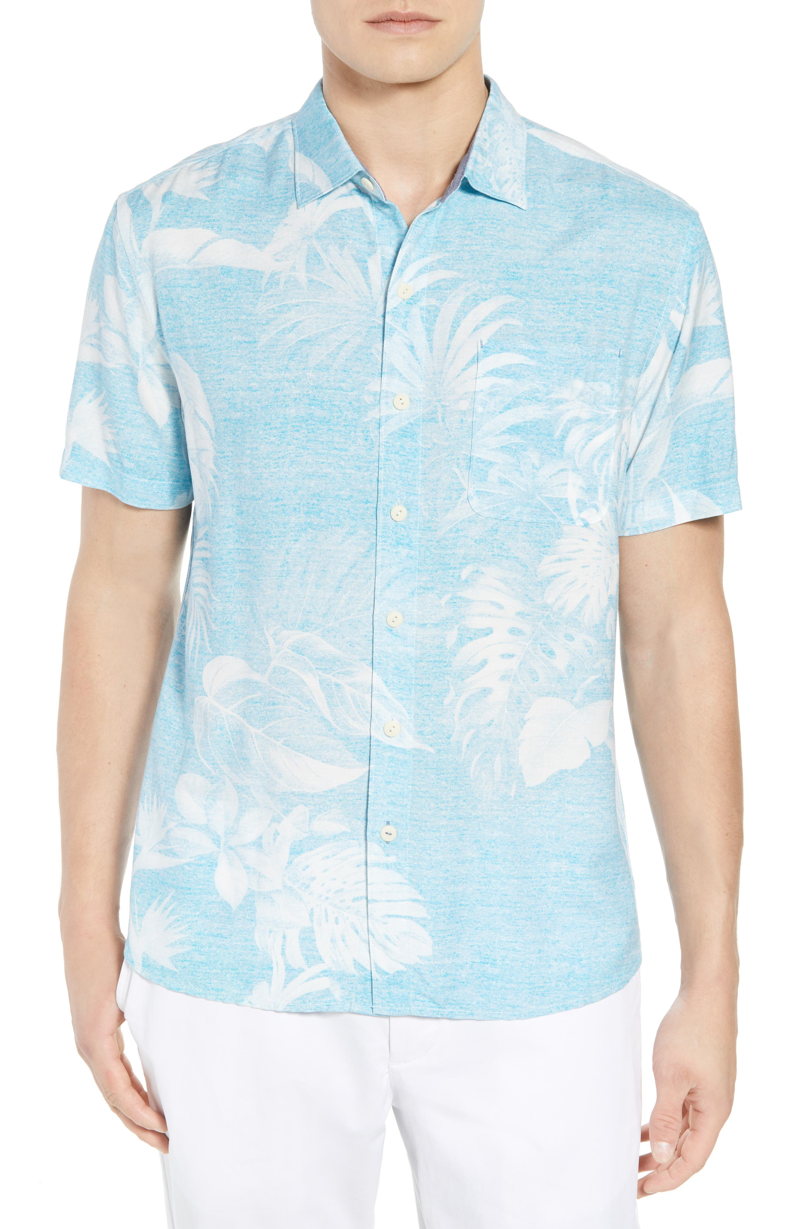 Grande Fronds Sport Shirt,                             Main thumbnail 1, color,                             BLUE RADIANCE