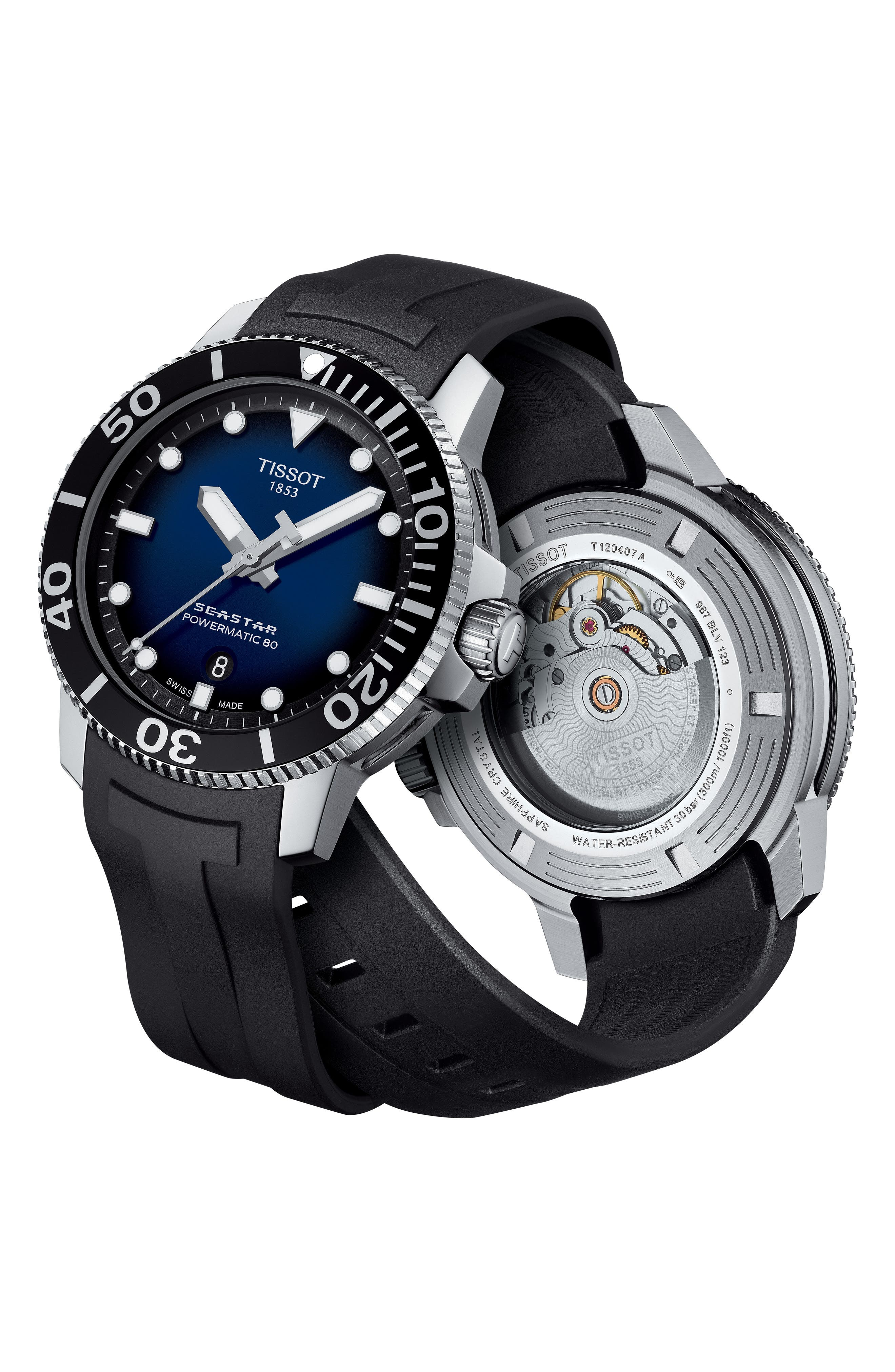 T-Sport Automatic Synthetic Strap Watch, 43mm,                             Alternate thumbnail 3, color,                             001
