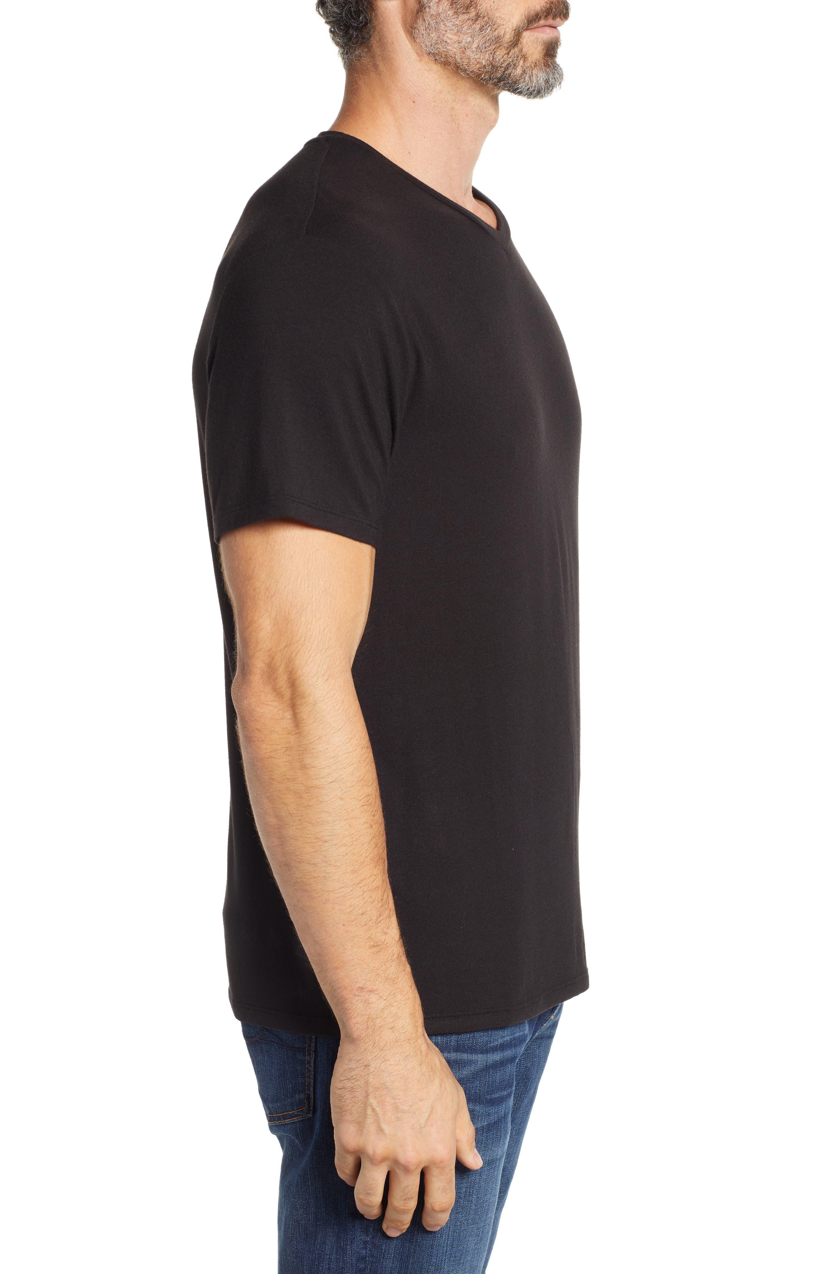 V-Neck Modal T-Shirt,                             Alternate thumbnail 3, color,                             BLACK