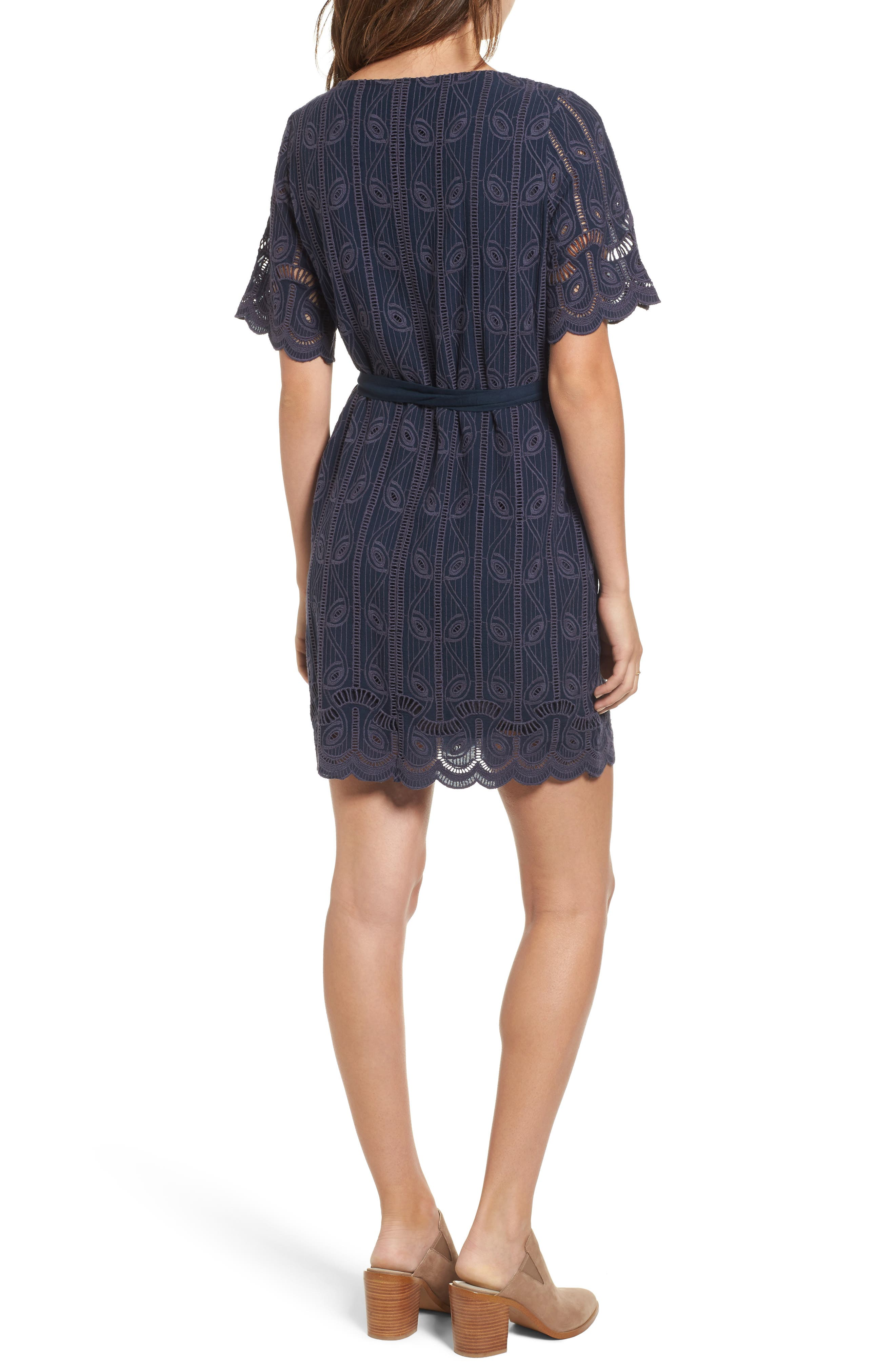 Rocky Cutwork Embroidery Wrap Dress,                             Alternate thumbnail 2, color,                             400