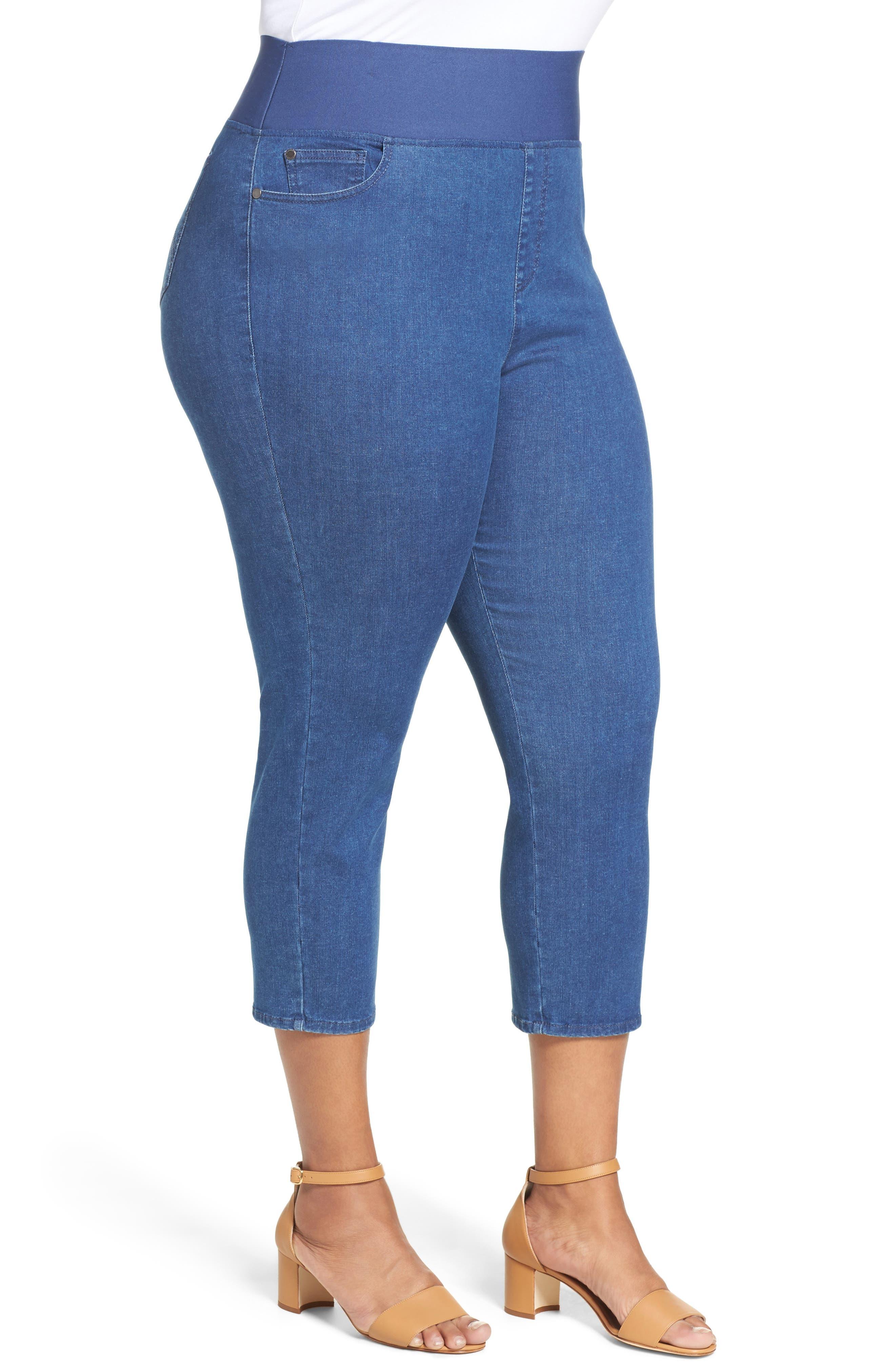 Nina Slimming Pull-On Capri Jeans,                             Alternate thumbnail 3, color,                             400