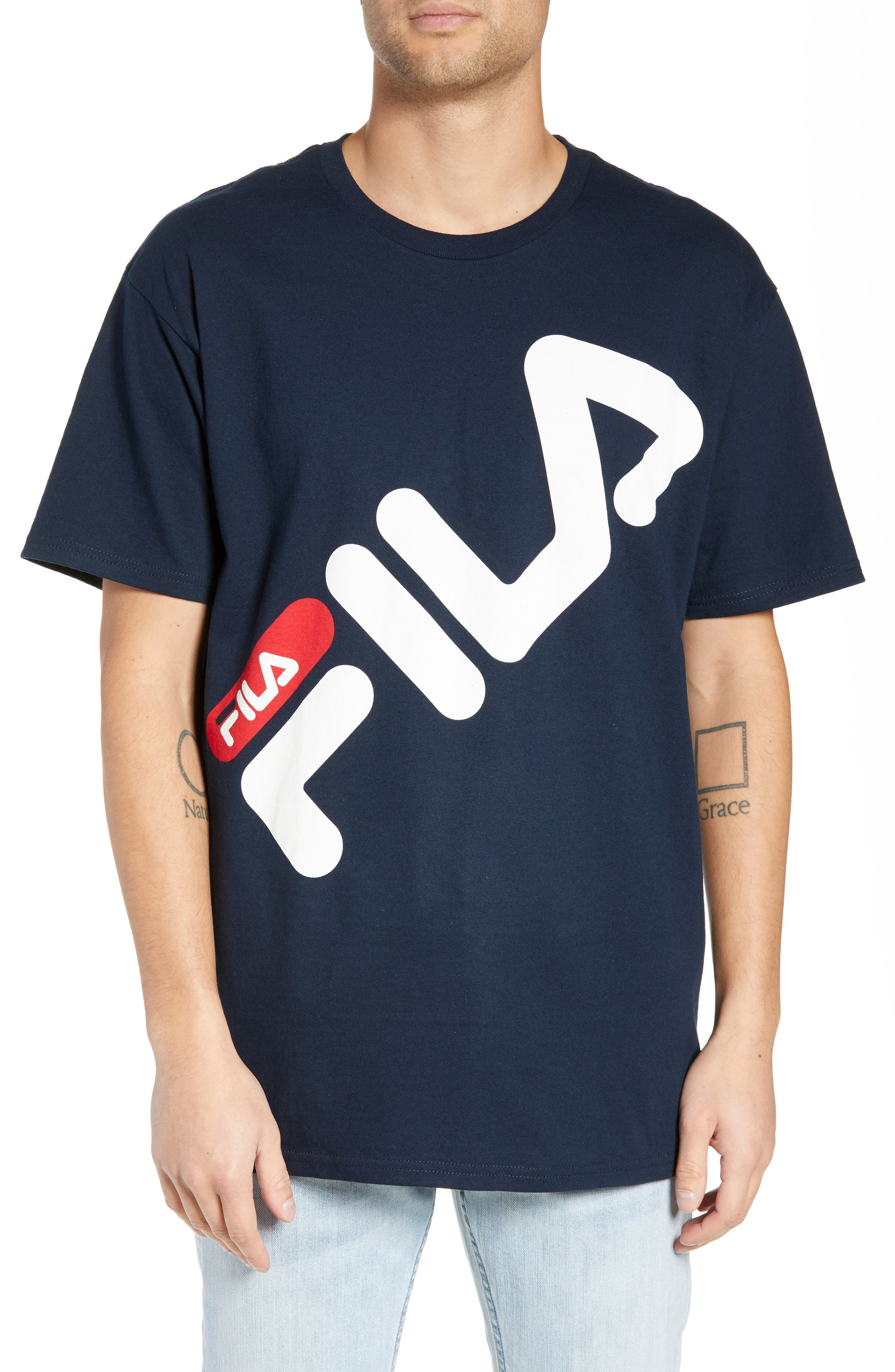 Micah Logo T-Shirt,                         Main,                         color, NAVY/ WHITE/ CHINESE RED
