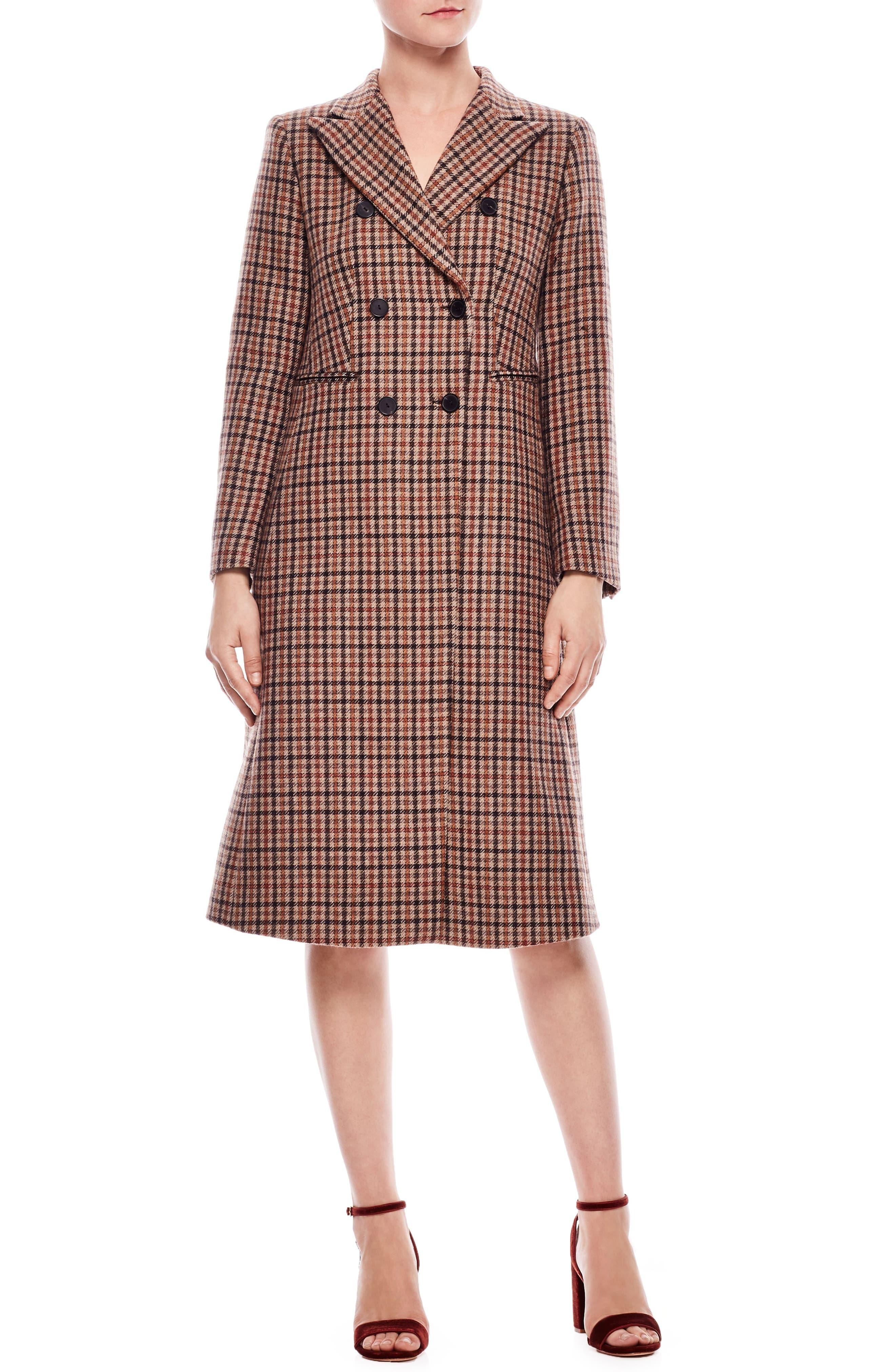 Colere Check Wool Blend Coat,                         Main,                         color, 200