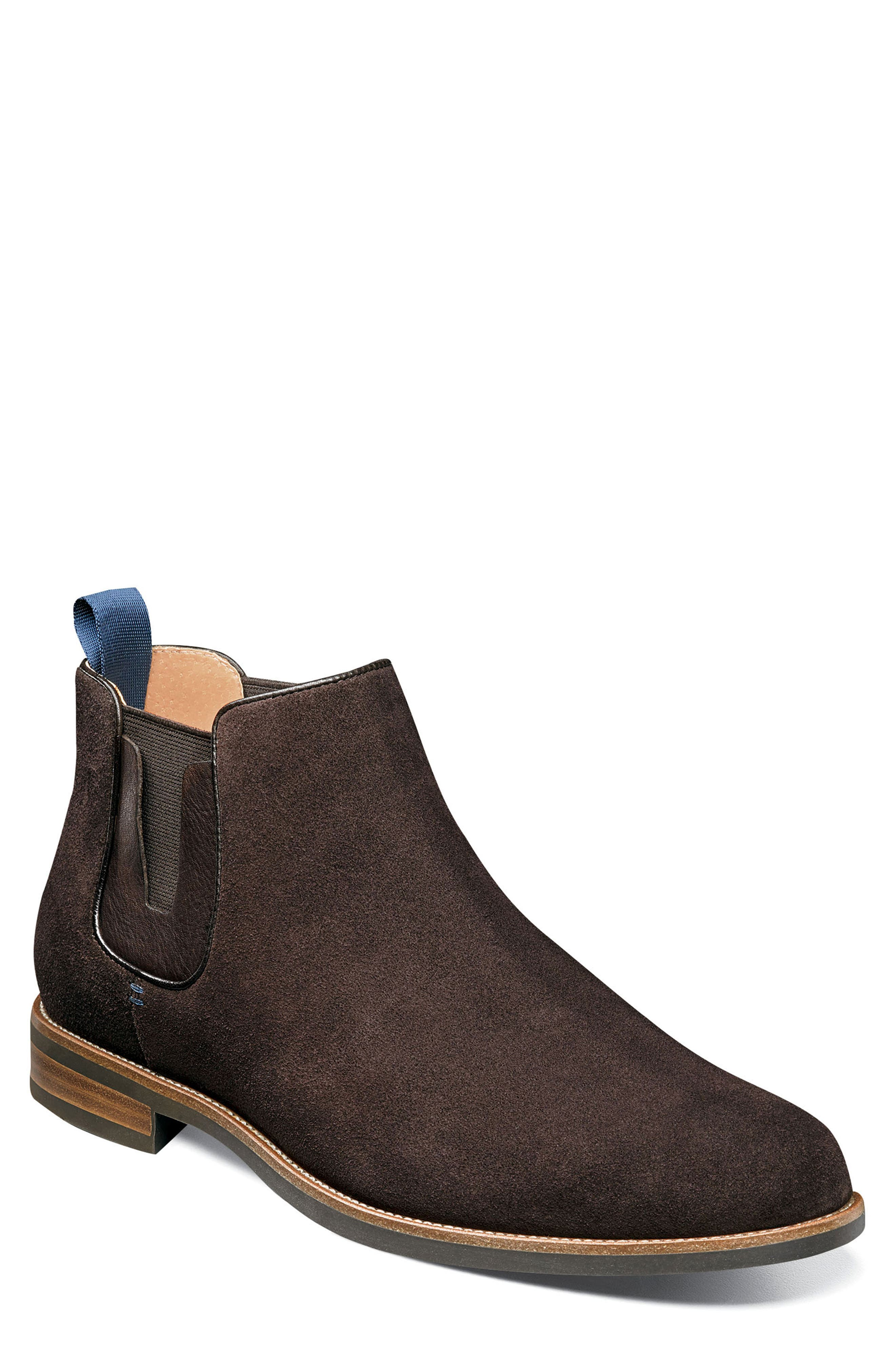 FLORSHEIM Uptown Plain Toe Mid Chelsea Boot in Brown Suede