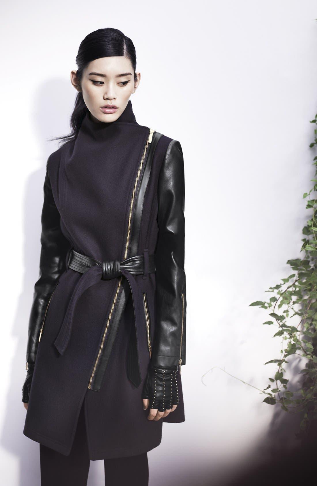Wool Blend & Faux Leather Coat,                             Alternate thumbnail 4, color,                             410