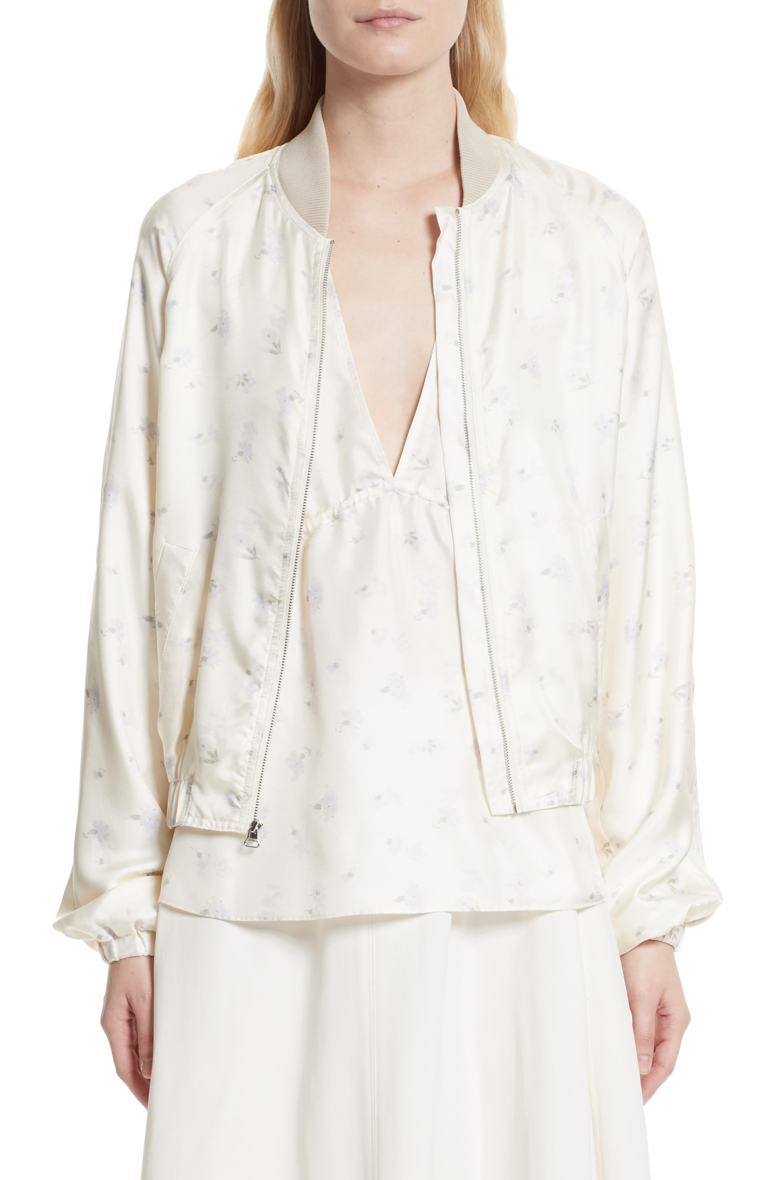 Jacque Floral Print Silk Bomber Jacket,                             Main thumbnail 1, color,                             903