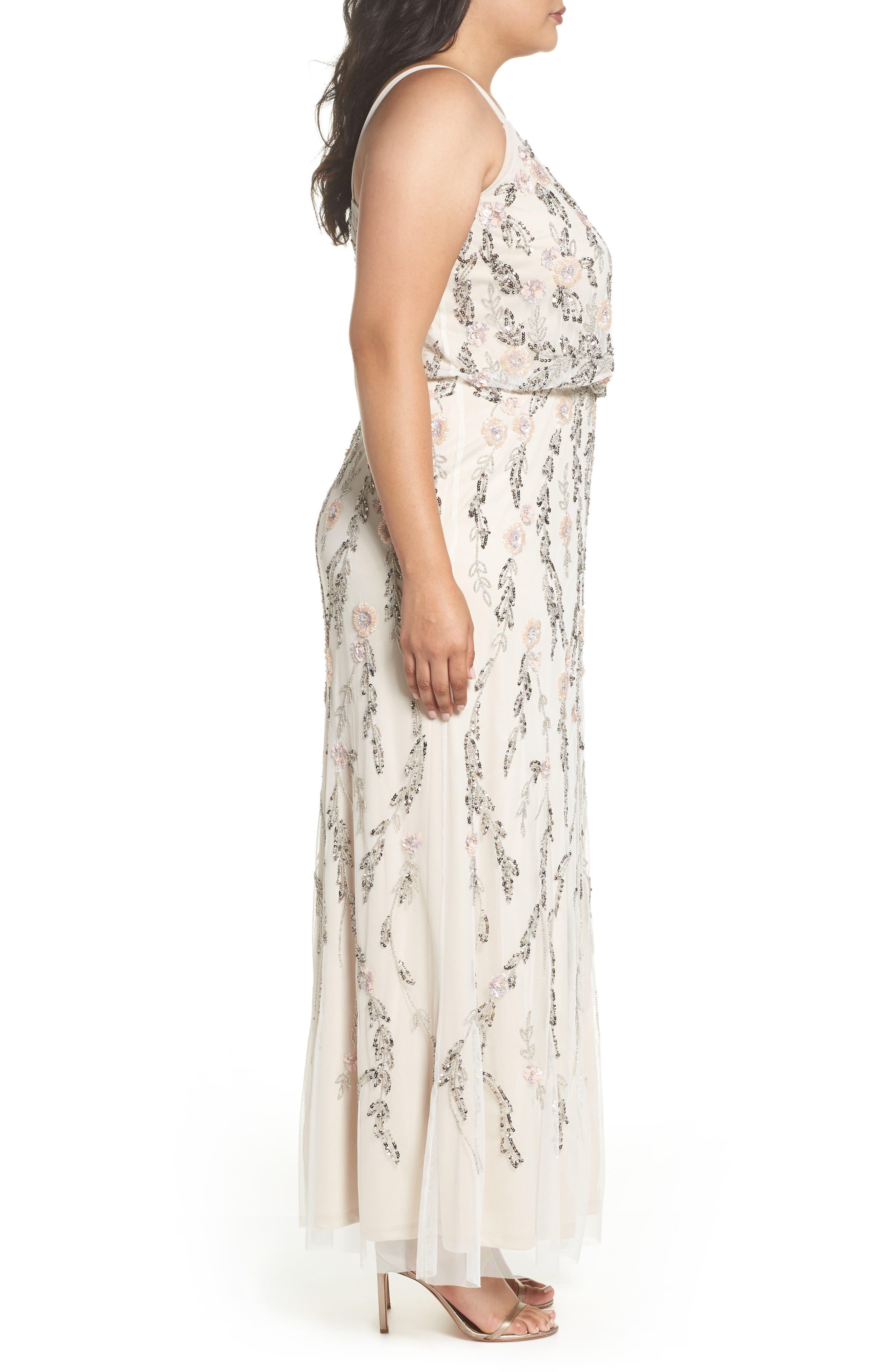 Beaded Blouson Gown,                             Alternate thumbnail 3, color,                             900