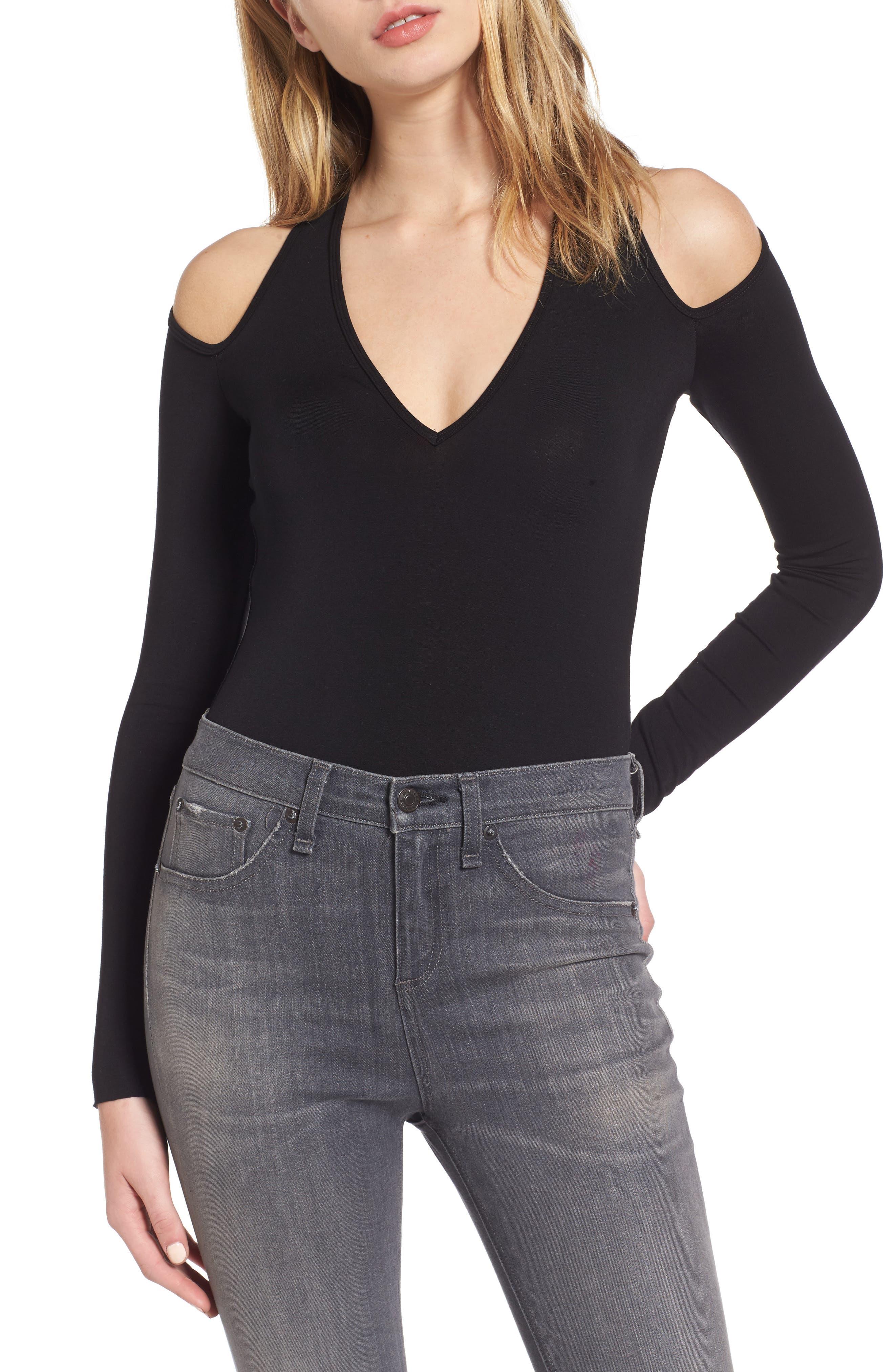 Patricia Cold Shoulder Bodysuit,                         Main,                         color, 001