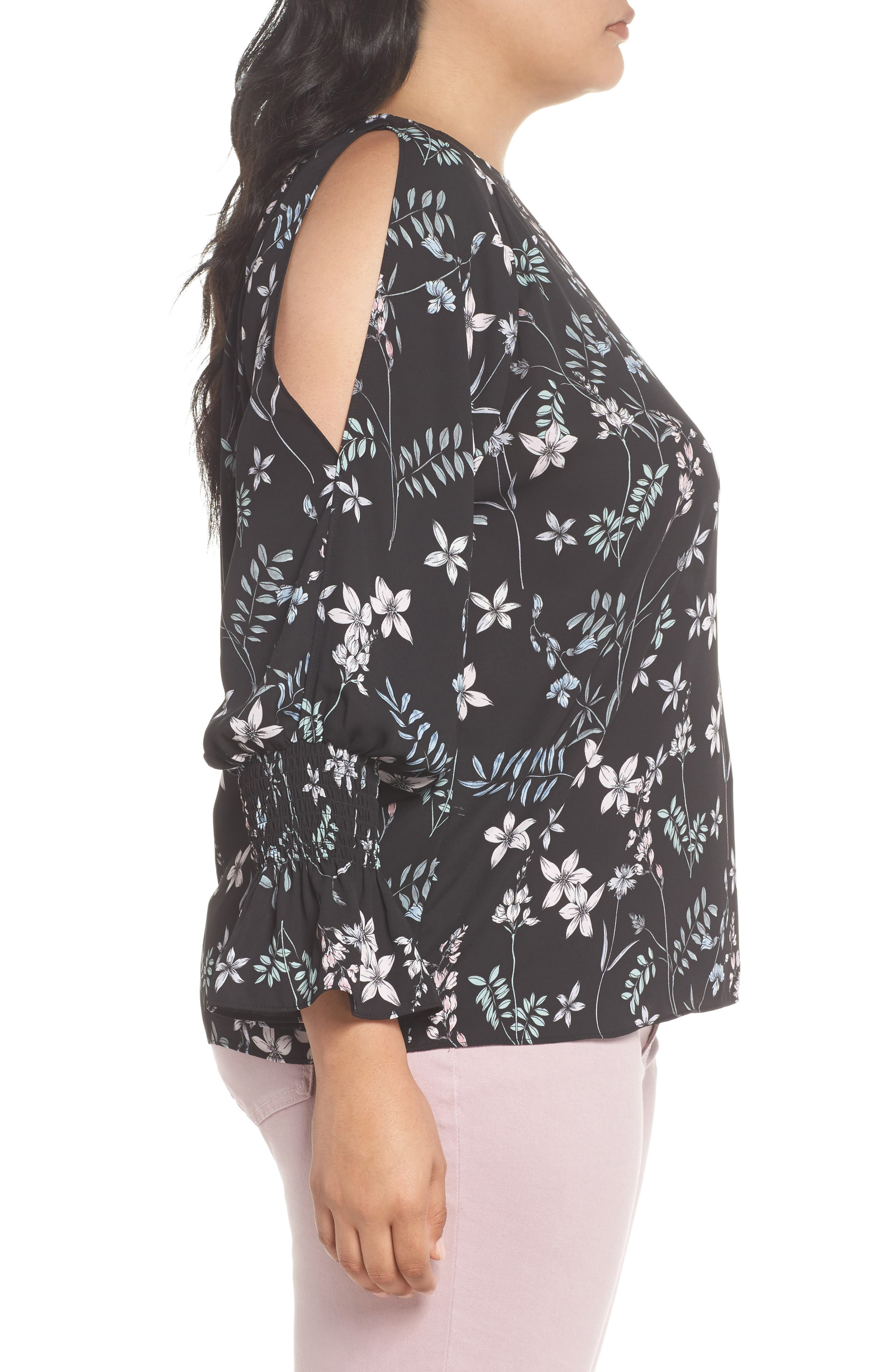 Cold Shoulder Flare Cuff Top,                             Alternate thumbnail 3, color,                             001